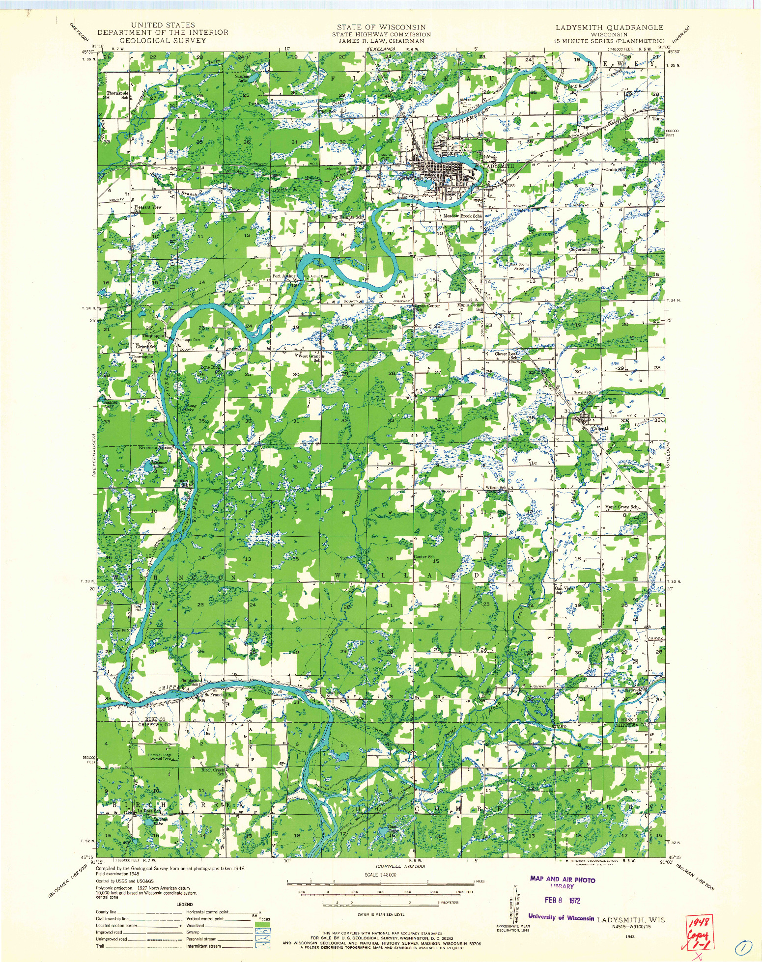 USGS 1:48000-SCALE QUADRANGLE FOR LADYSMITH, WI 1948
