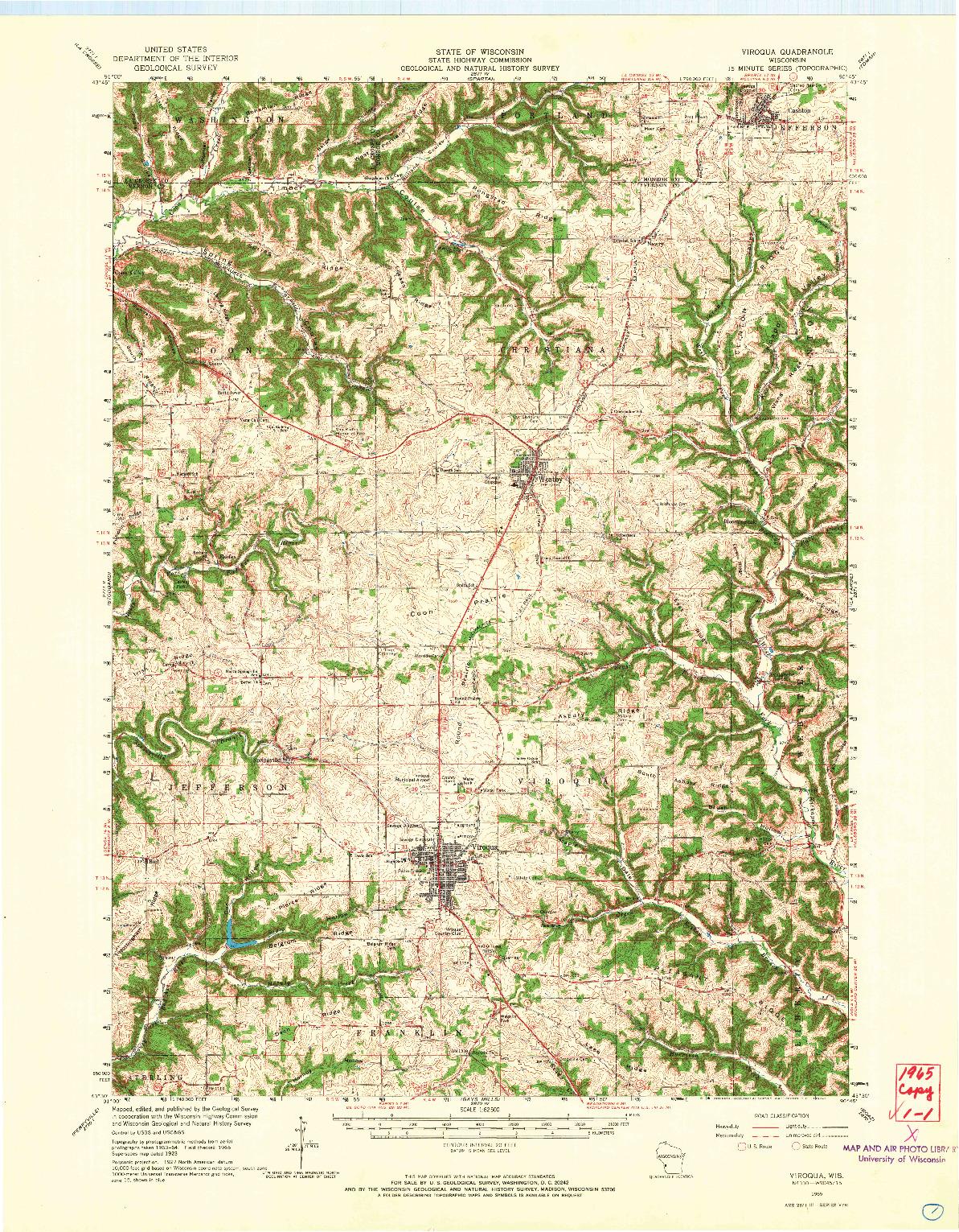 USGS 1:62500-SCALE QUADRANGLE FOR VIROQUA, WI 1965