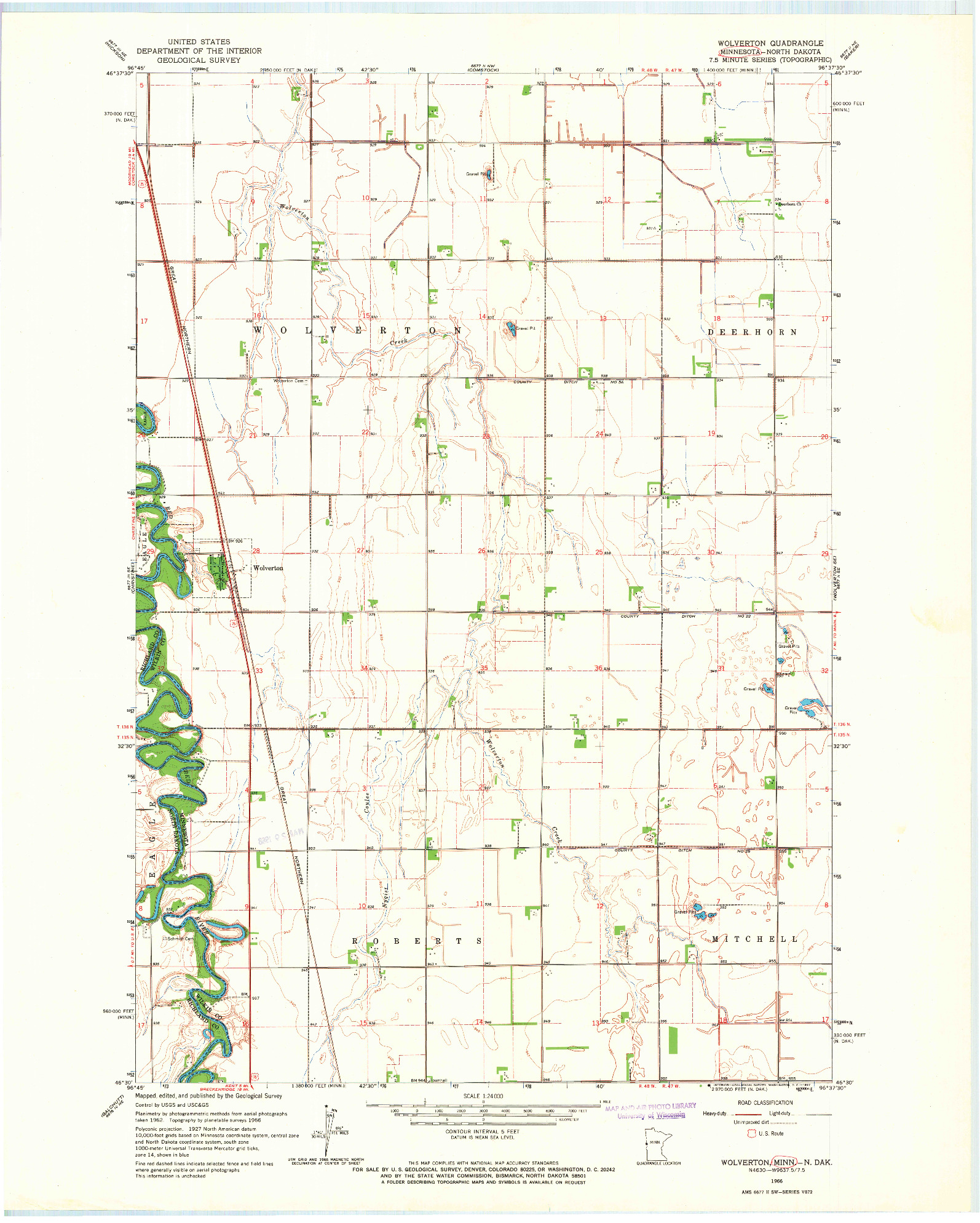 USGS 1:24000-SCALE QUADRANGLE FOR WOLVERTON, MN 1966
