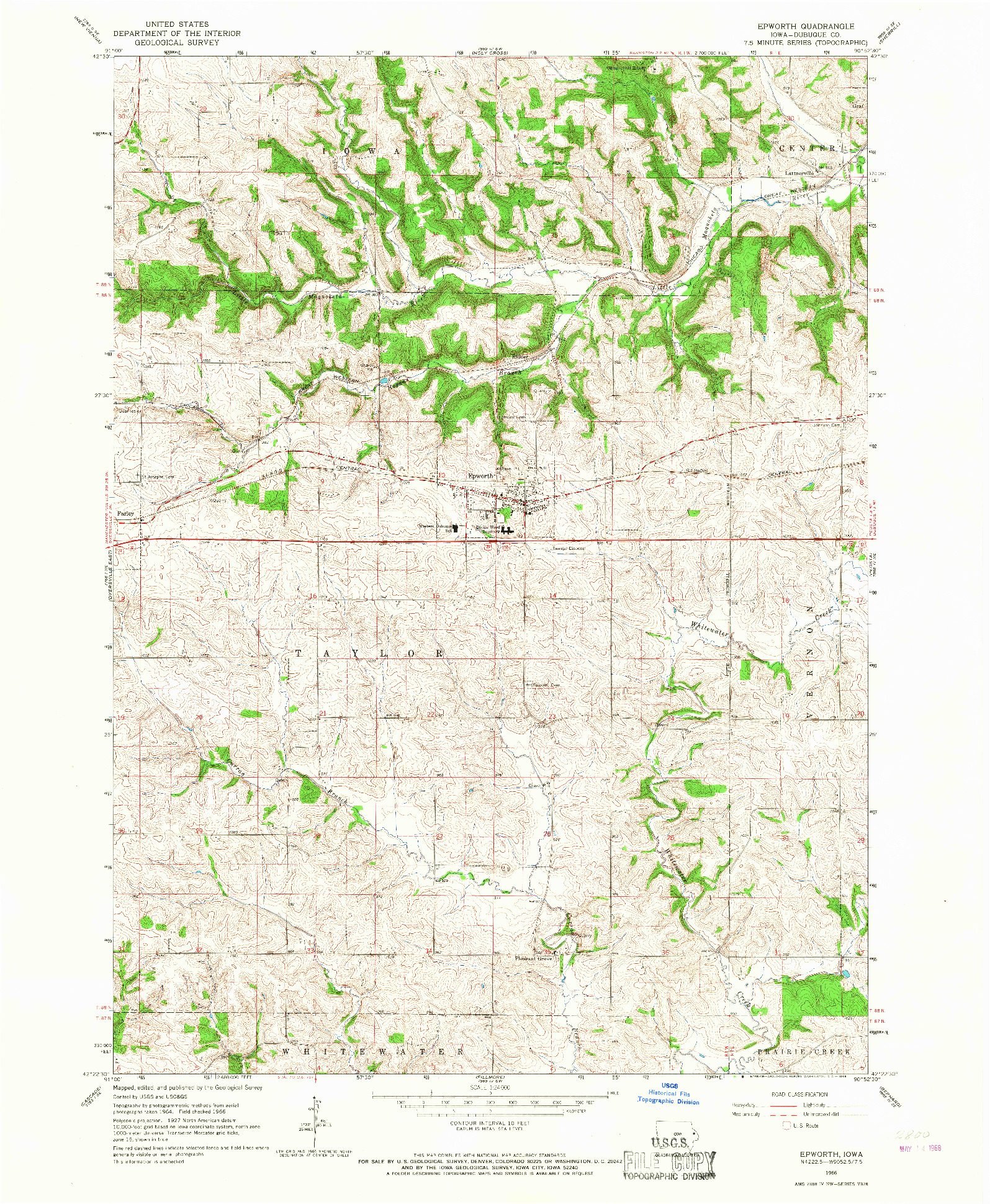 USGS 1:24000-SCALE QUADRANGLE FOR EPWORTH, IA 1966