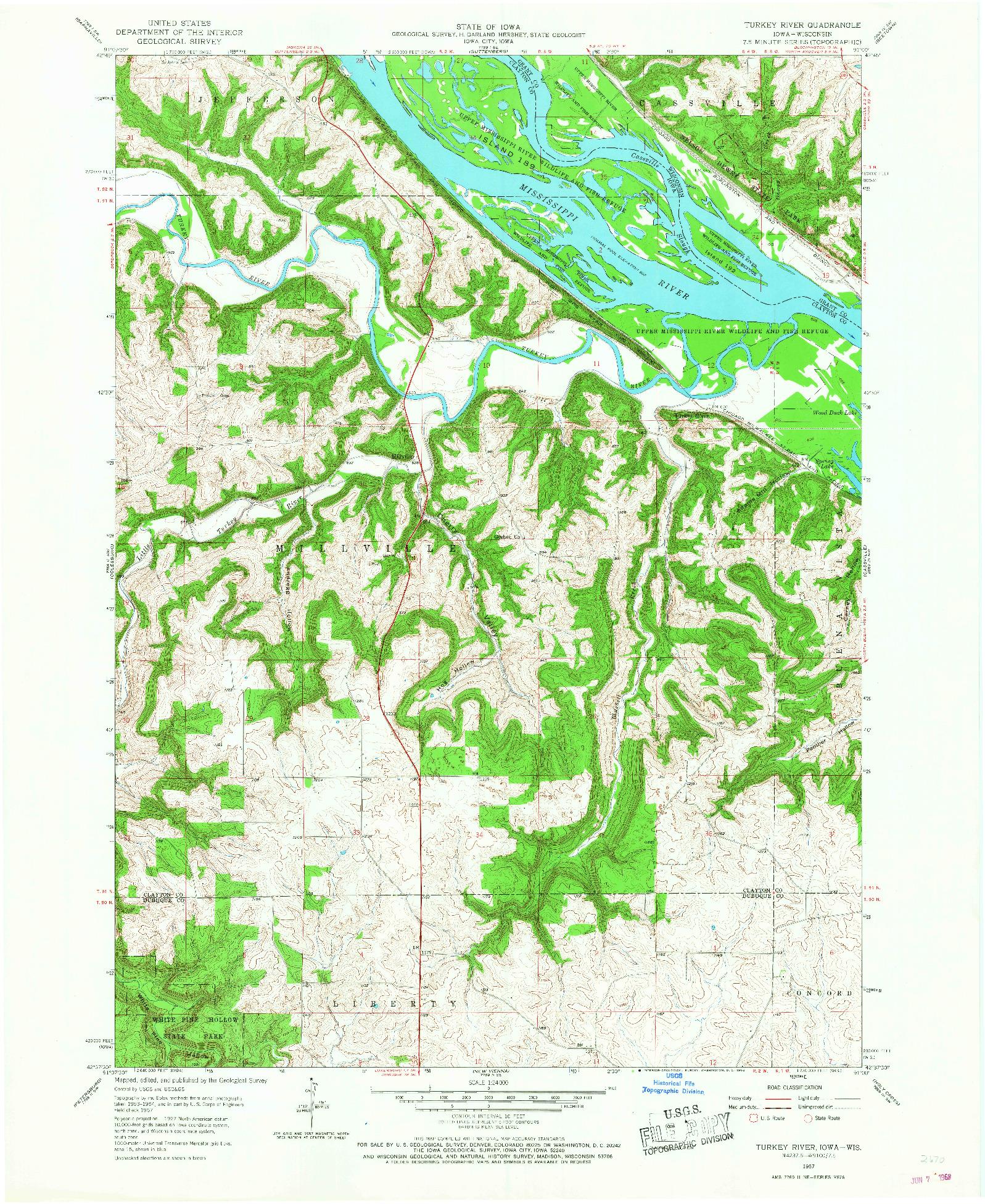 USGS 1:24000-SCALE QUADRANGLE FOR TURKEY RIVER, IA 1957