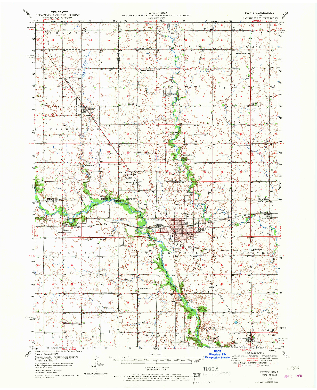 USGS 1:62500-SCALE QUADRANGLE FOR PERRY, IA 1950