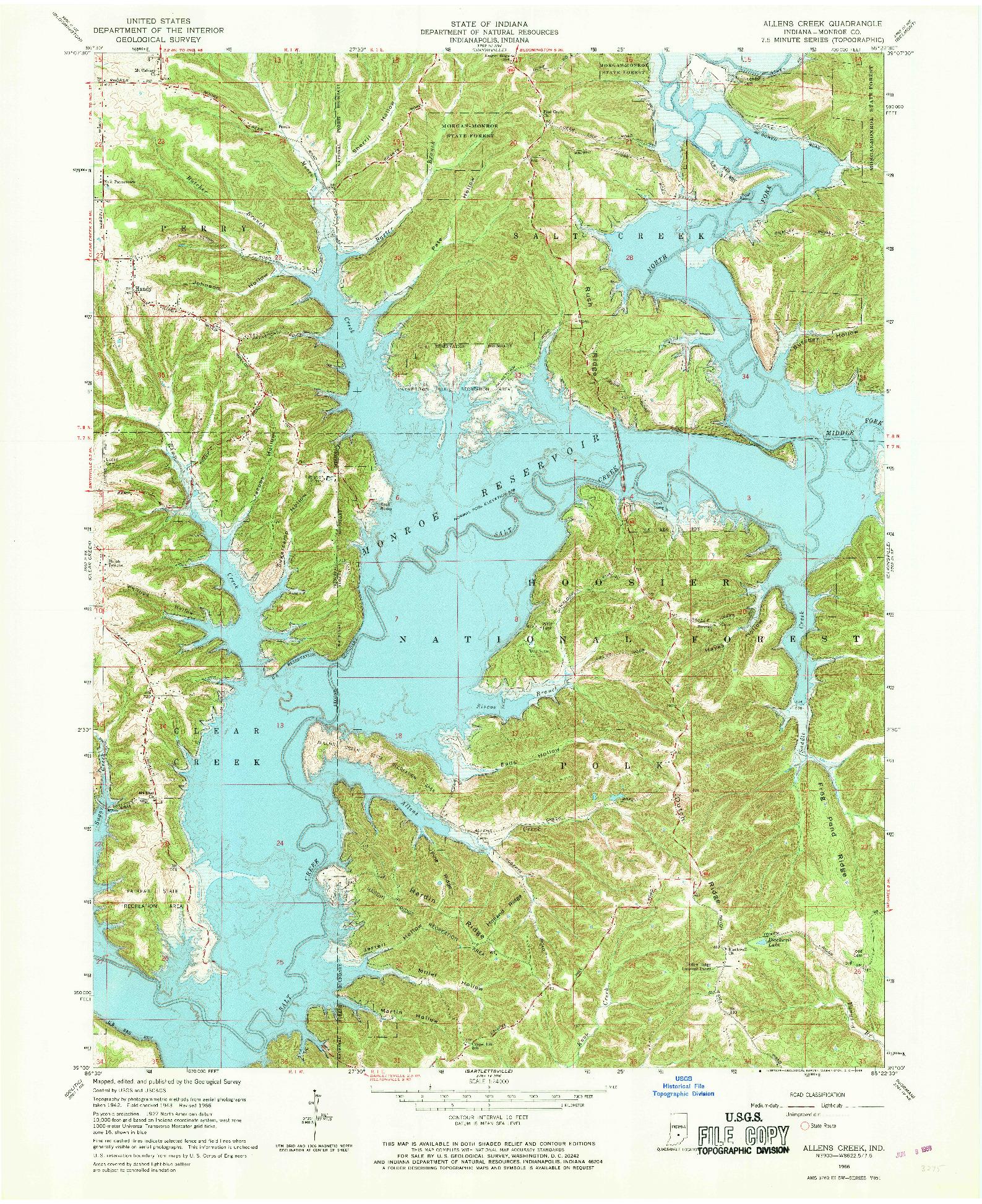 USGS 1:24000-SCALE QUADRANGLE FOR ALLENS CREEK, IN 1966