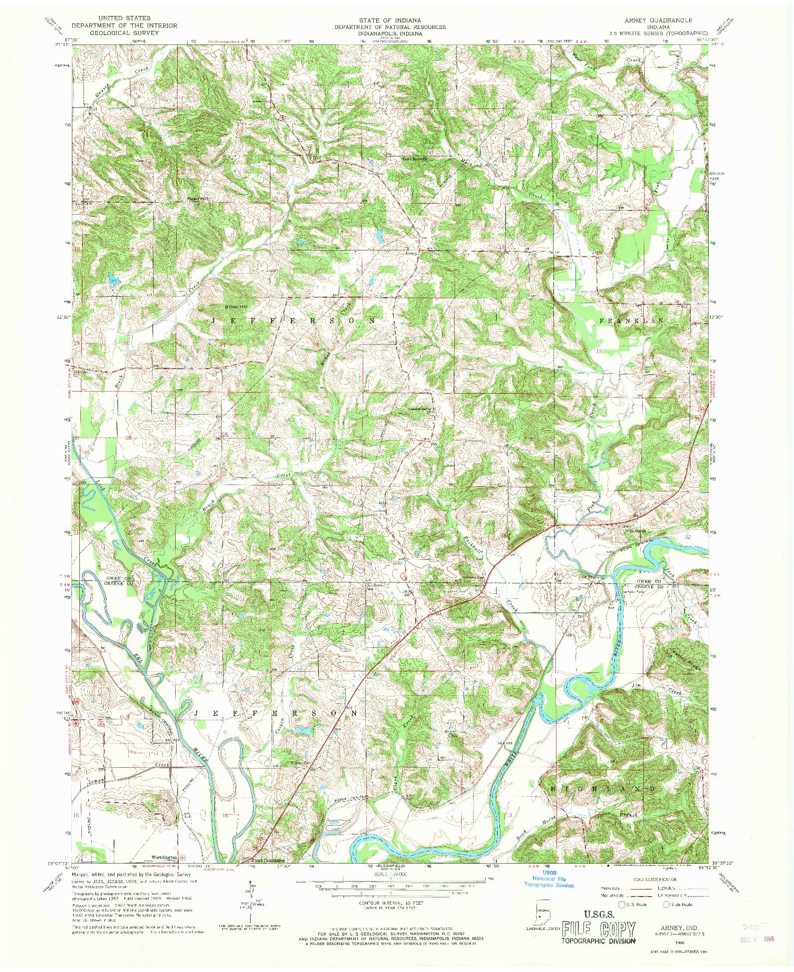 USGS 1:24000-SCALE QUADRANGLE FOR ARNEY, IN 1966