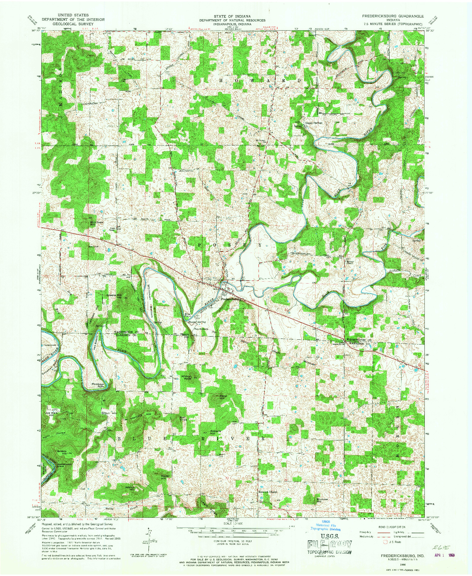 USGS 1:24000-SCALE QUADRANGLE FOR FREDERICKSBURG, IN 1966