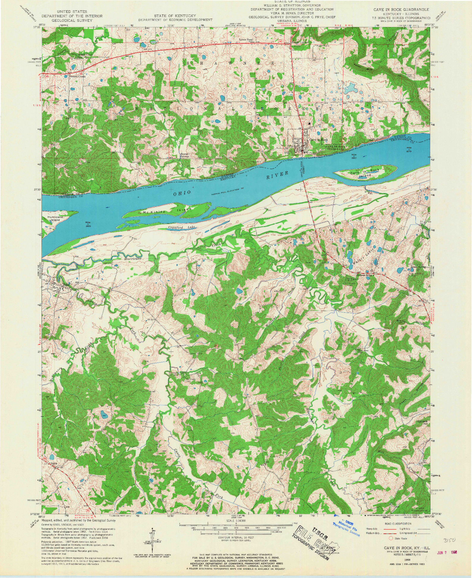 USGS 1:24000-SCALE QUADRANGLE FOR CAVE IN ROCK, KY 1958