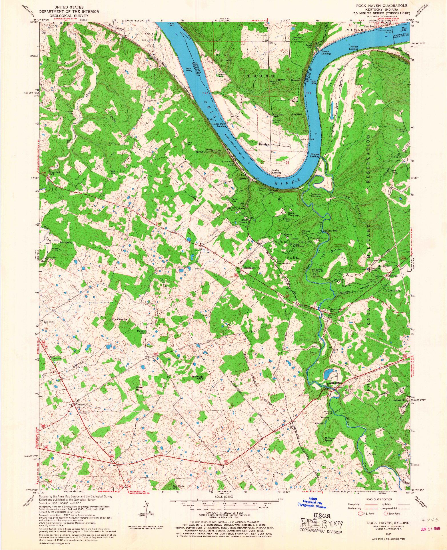 USGS 1:24000-SCALE QUADRANGLE FOR ROCK HAVEN, KY 1960