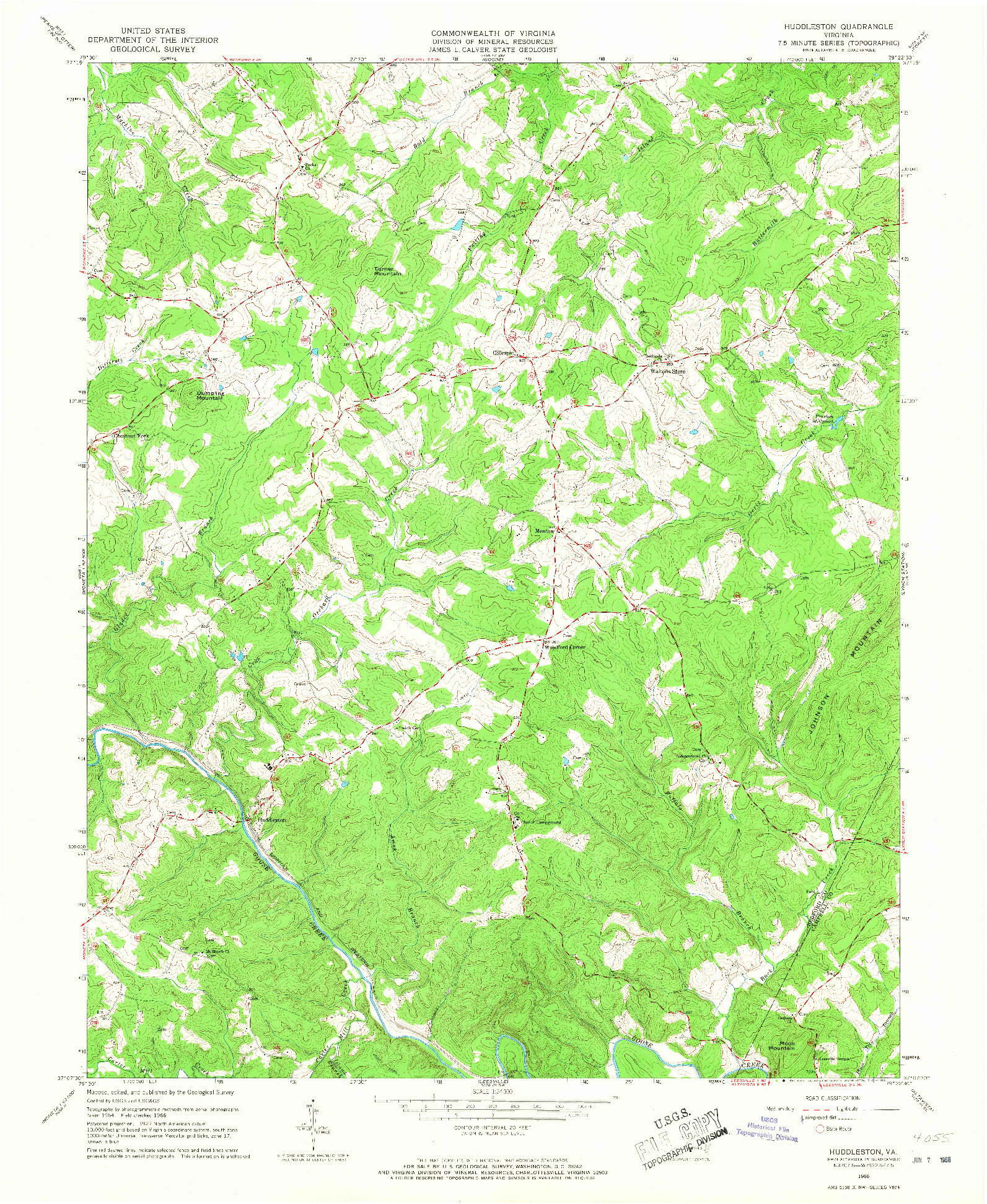 USGS 1:24000-SCALE QUADRANGLE FOR HUDDLESTON, VA 1966