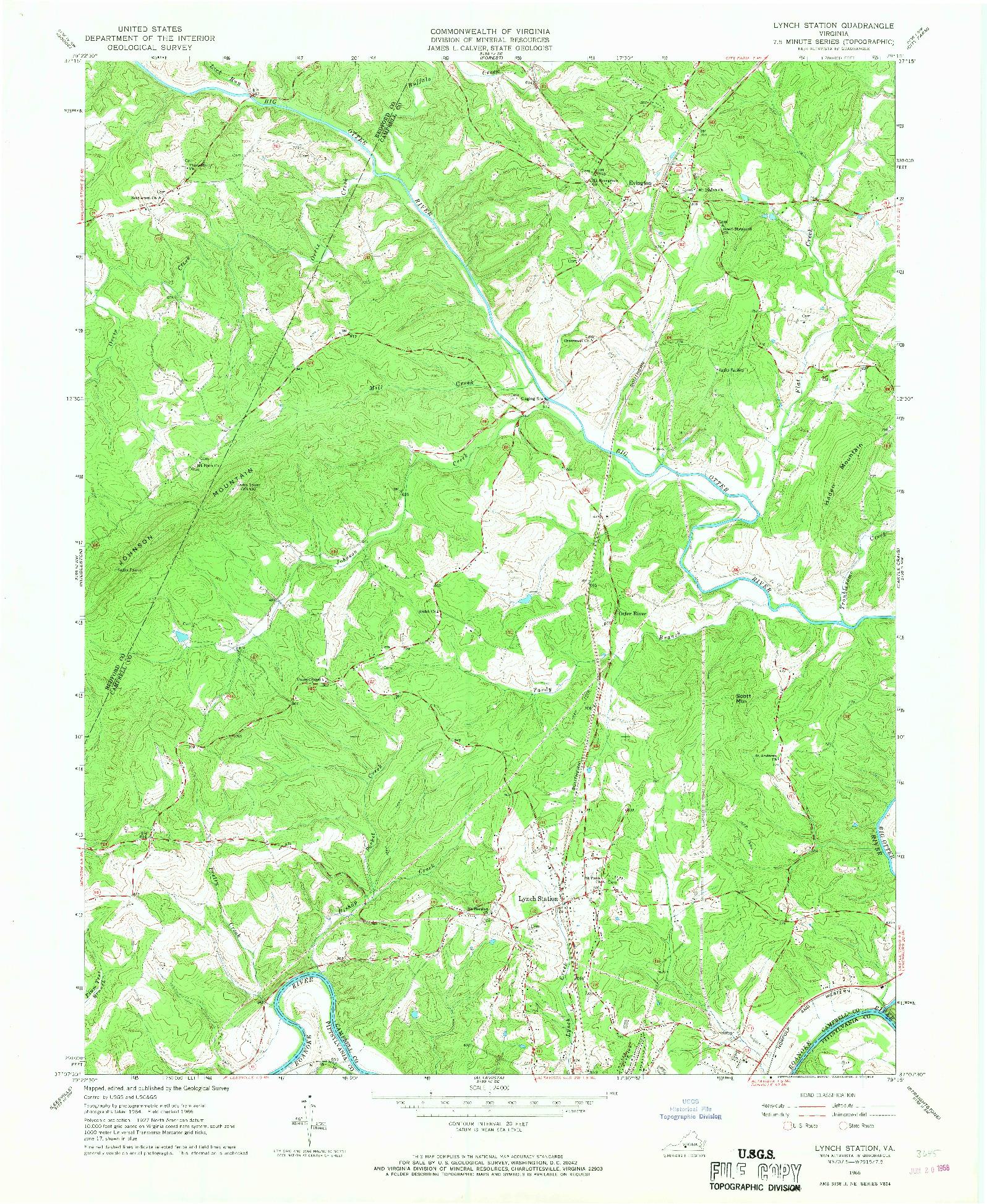 USGS 1:24000-SCALE QUADRANGLE FOR LYNCH STATION, VA 1966