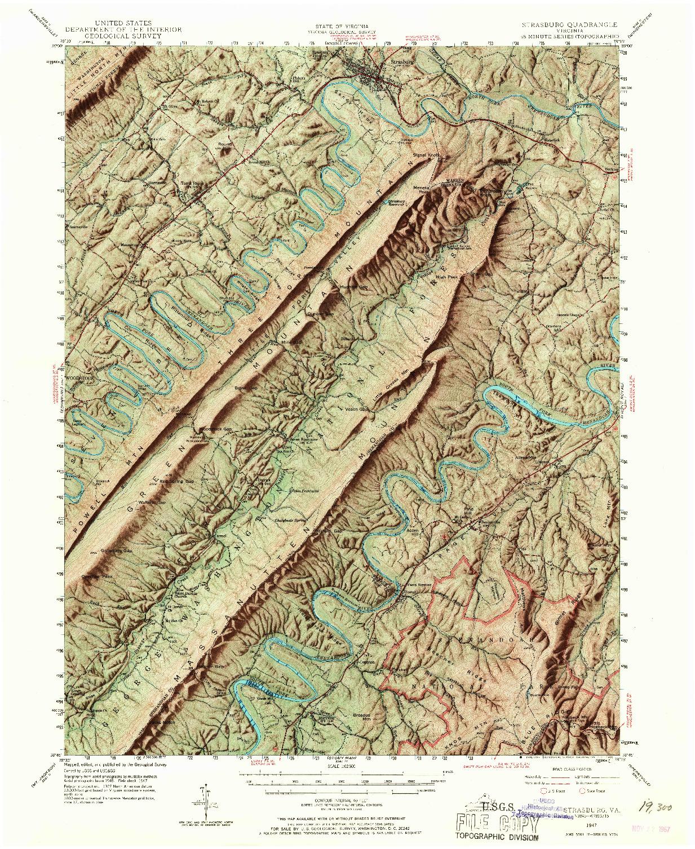 USGS 1:62500-SCALE QUADRANGLE FOR STRASBURG, VA 1947