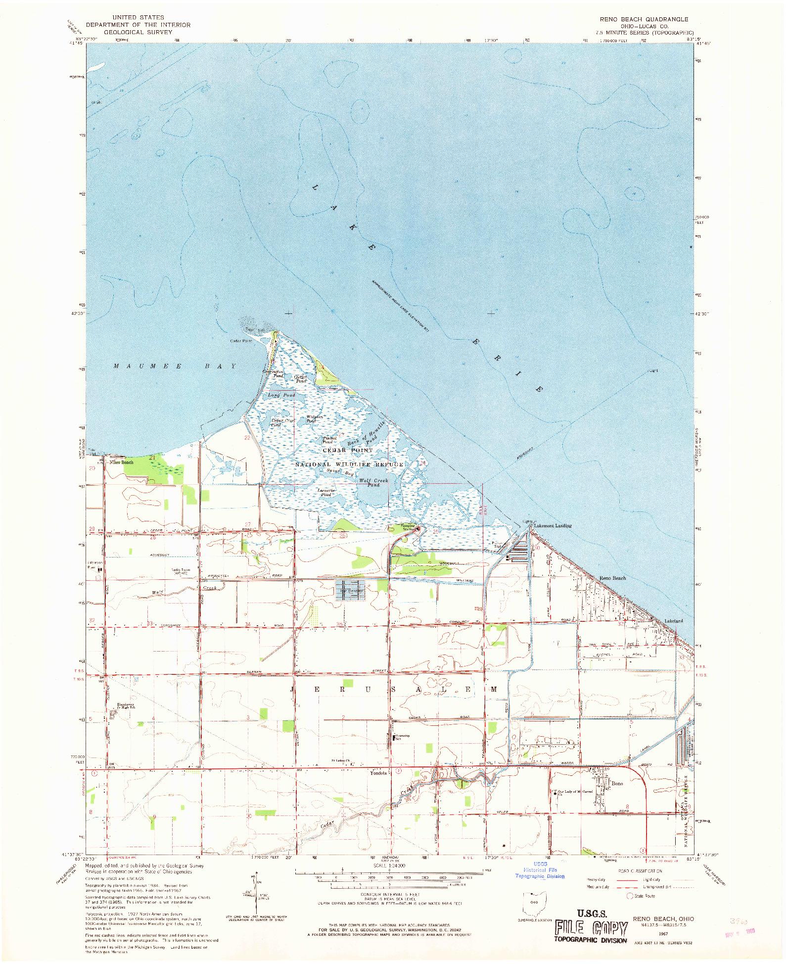 USGS 1:24000-SCALE QUADRANGLE FOR RENO BEACH, OH 1967