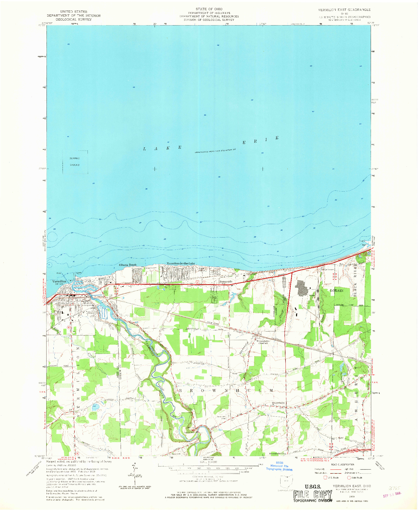 USGS 1:24000-SCALE QUADRANGLE FOR VERMILION EAST, OH 1959
