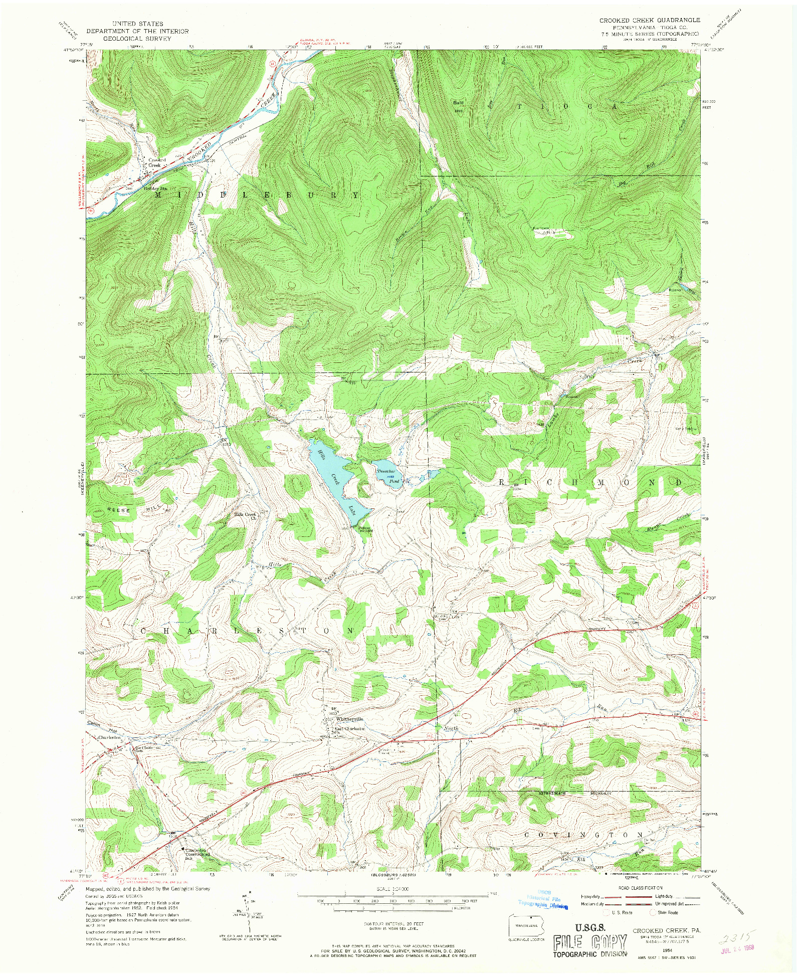 USGS 1:24000-SCALE QUADRANGLE FOR CROOKED CREEK, PA 1954