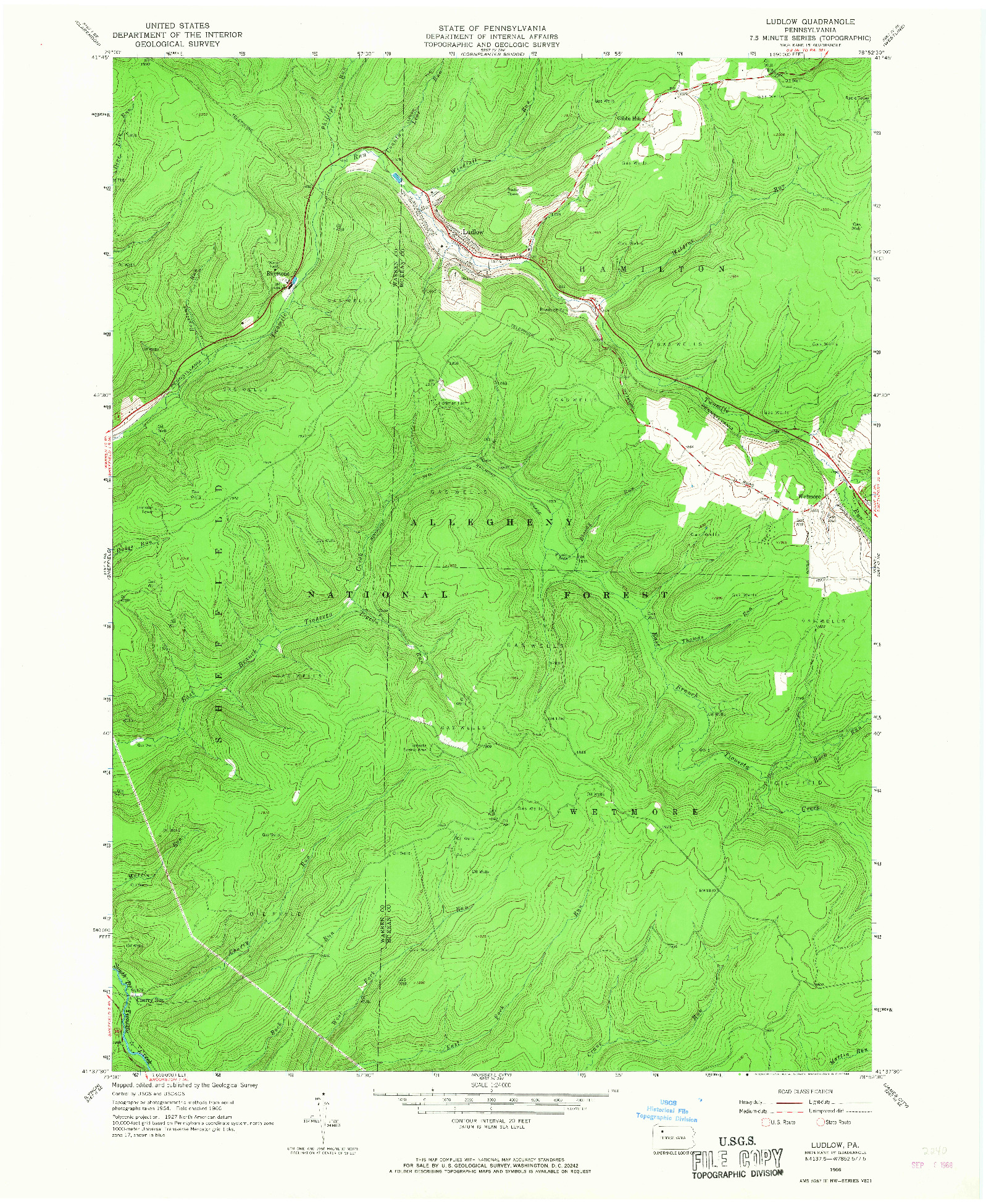 USGS 1:24000-SCALE QUADRANGLE FOR LUDLOW, PA 1966