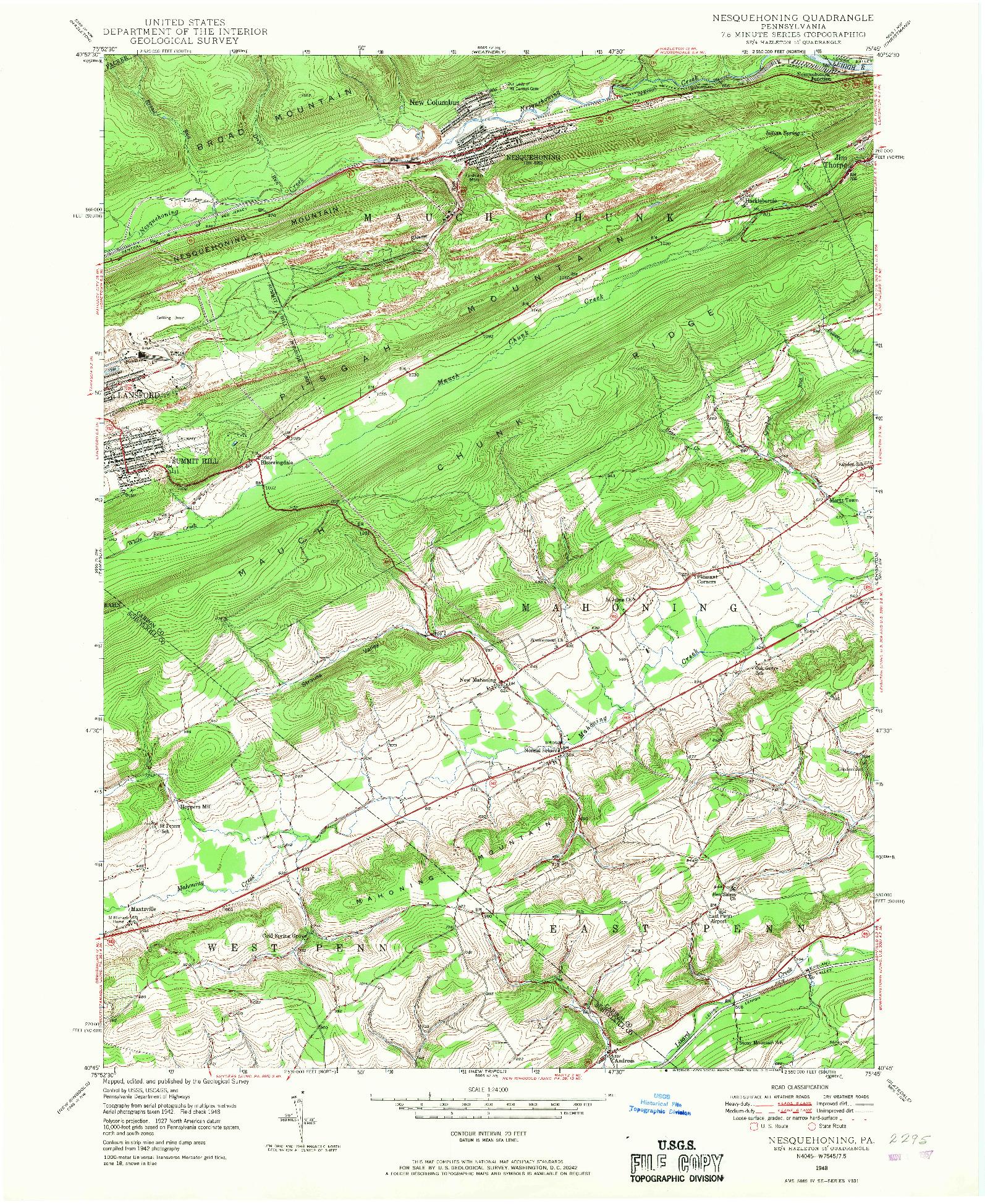 USGS 1:24000-SCALE QUADRANGLE FOR NESQUEHONING, PA 1948