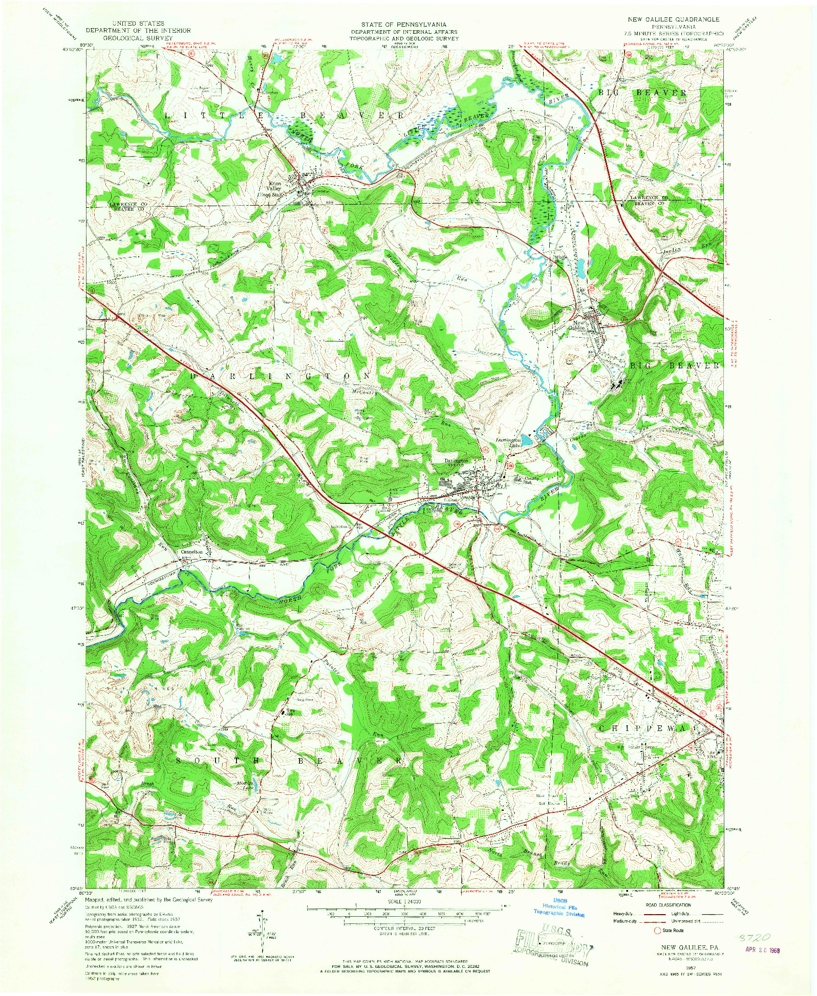 USGS 1:24000-SCALE QUADRANGLE FOR NEW GALILEE, PA 1957