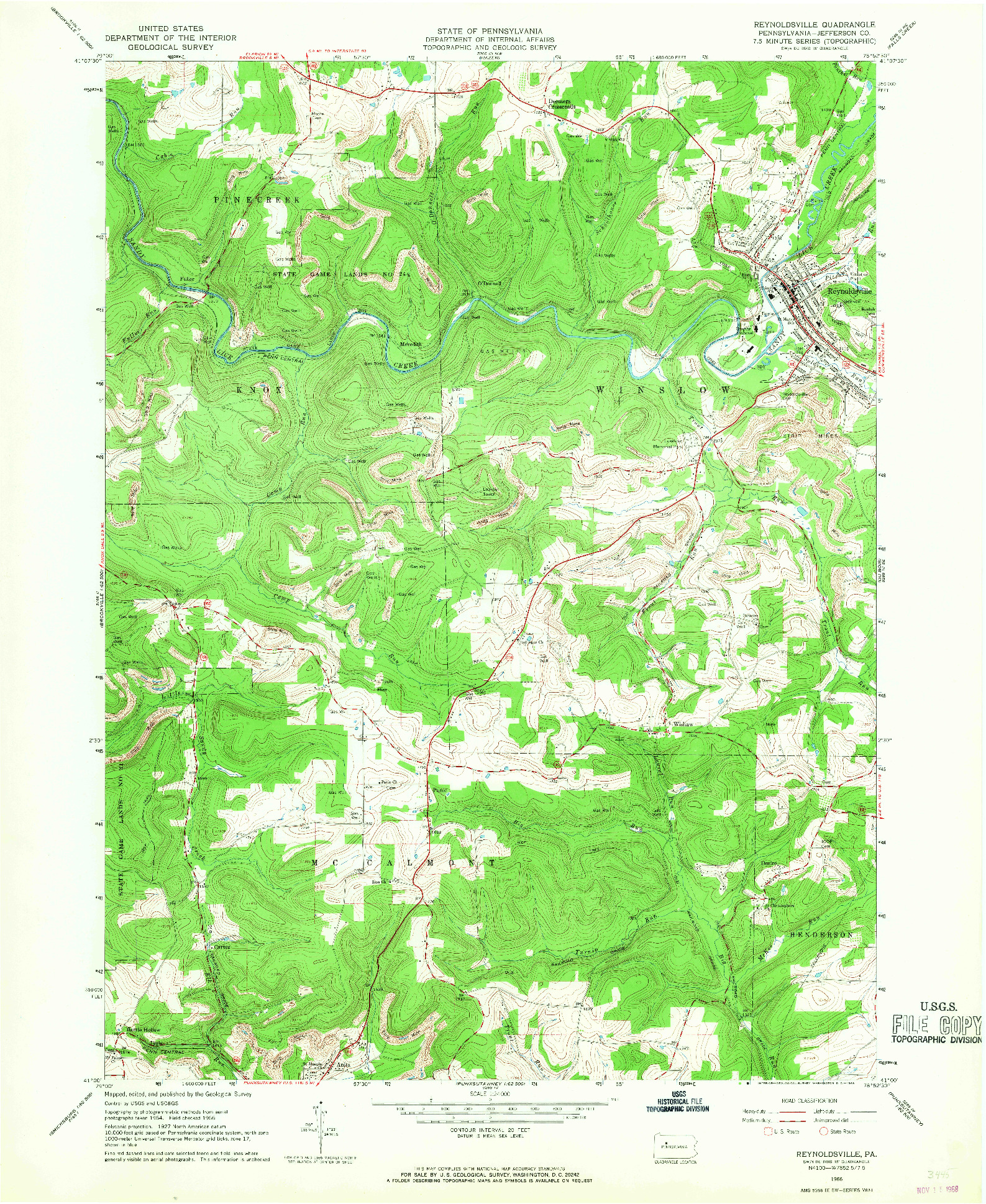 USGS 1:24000-SCALE QUADRANGLE FOR REYNOLDSVILLE, PA 1966