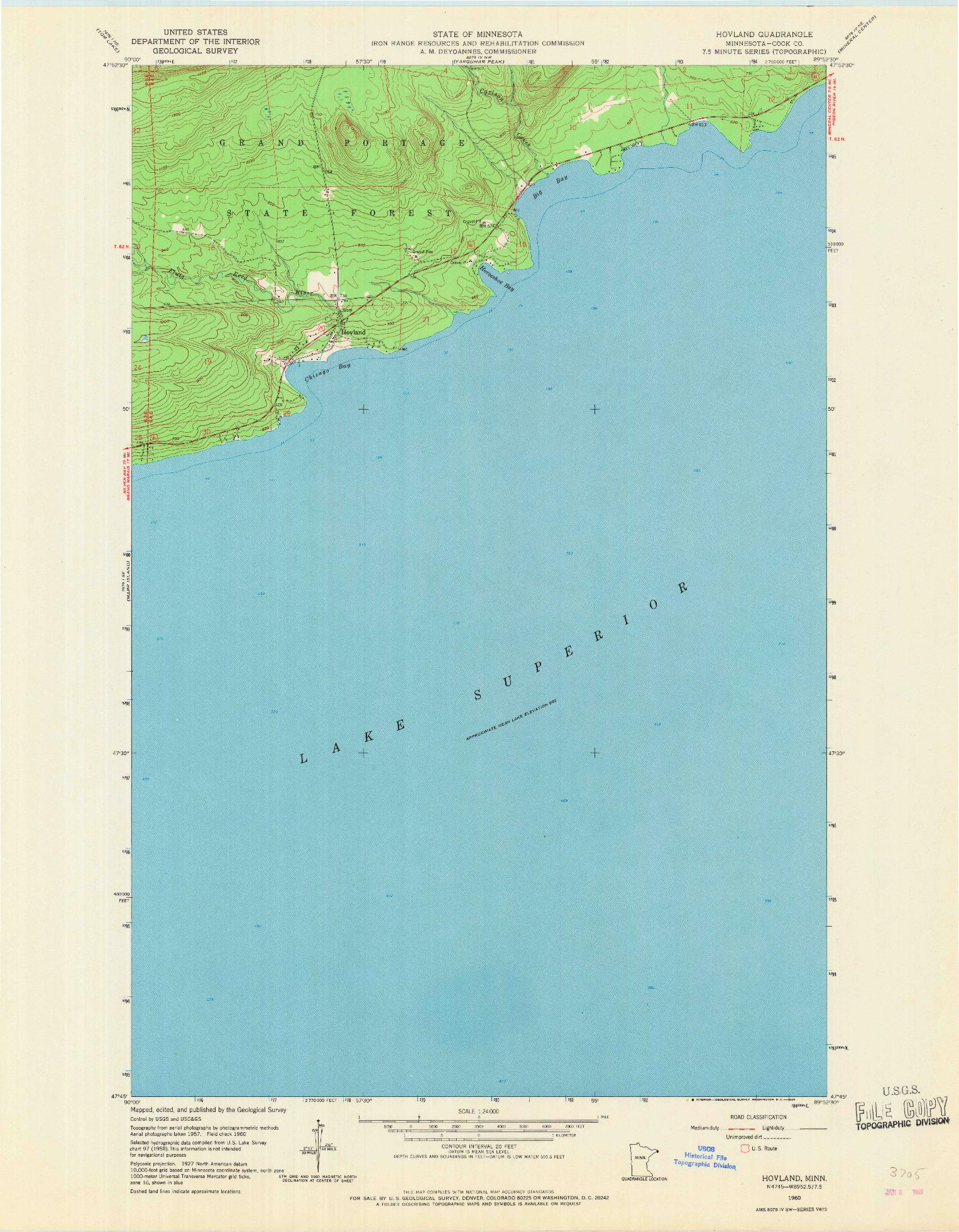 USGS 1:24000-SCALE QUADRANGLE FOR HOVLAND, MN 1960
