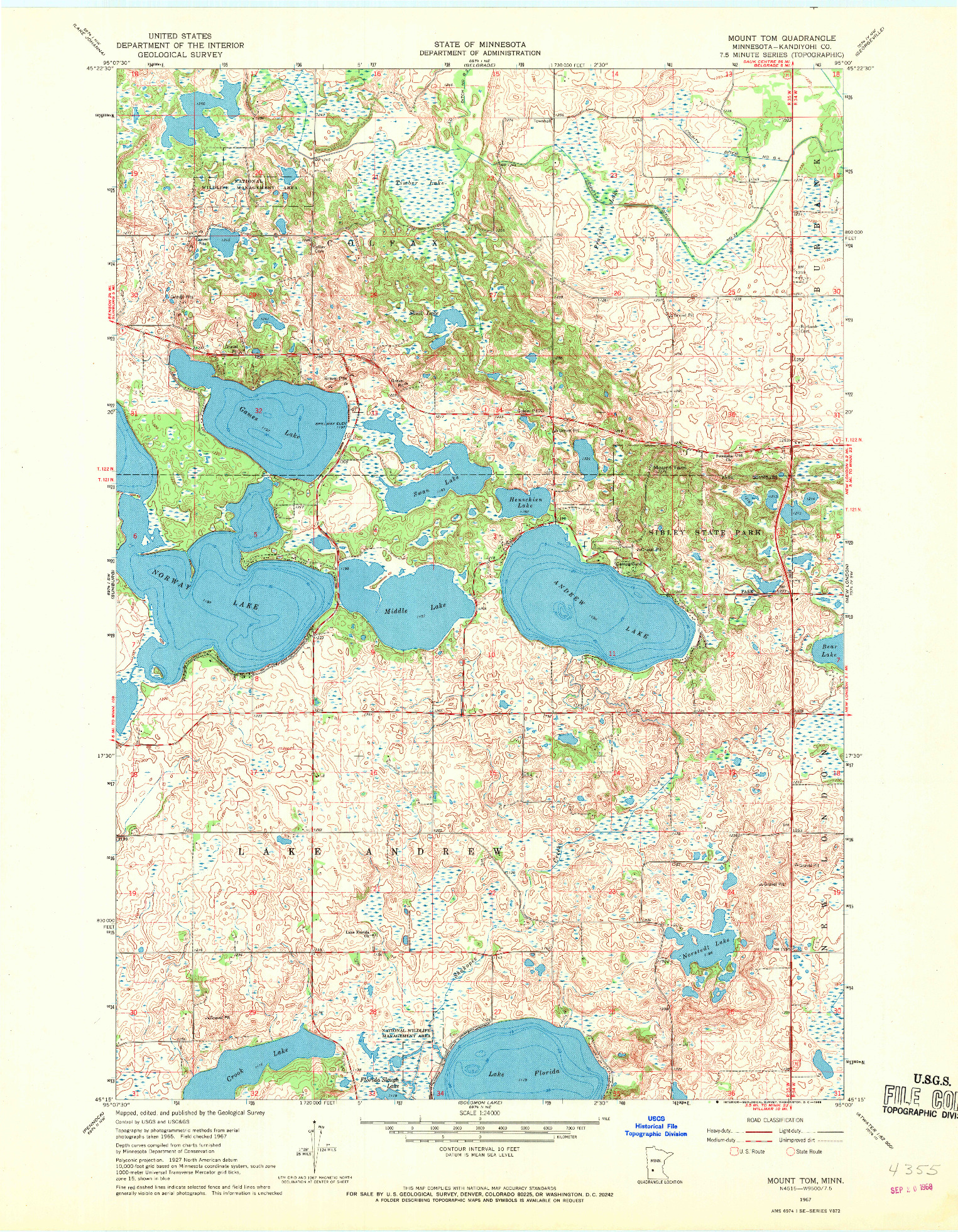 USGS 1:24000-SCALE QUADRANGLE FOR MOUNT TOM, MN 1967