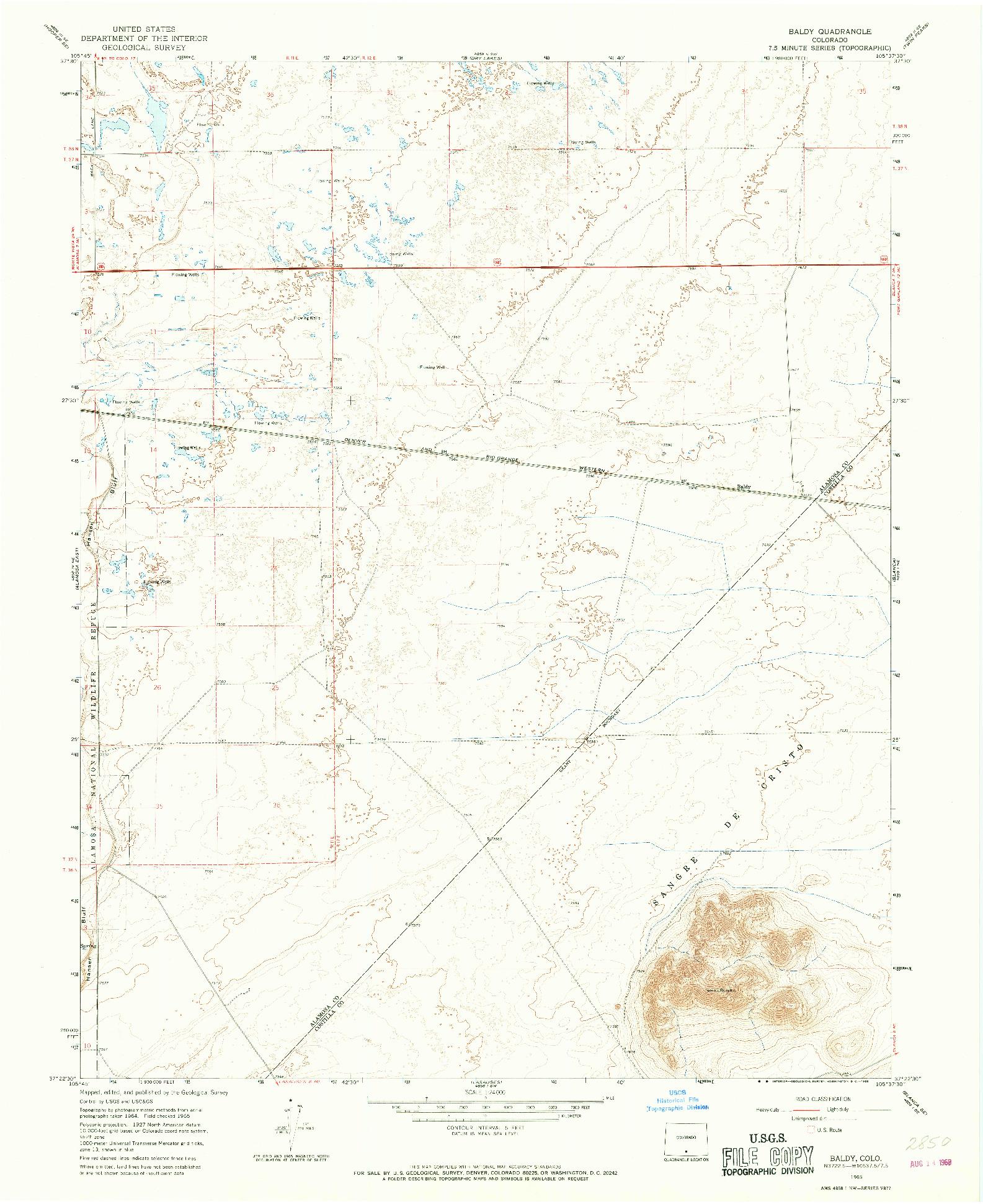 USGS 1:24000-SCALE QUADRANGLE FOR BALDY, CO 1965
