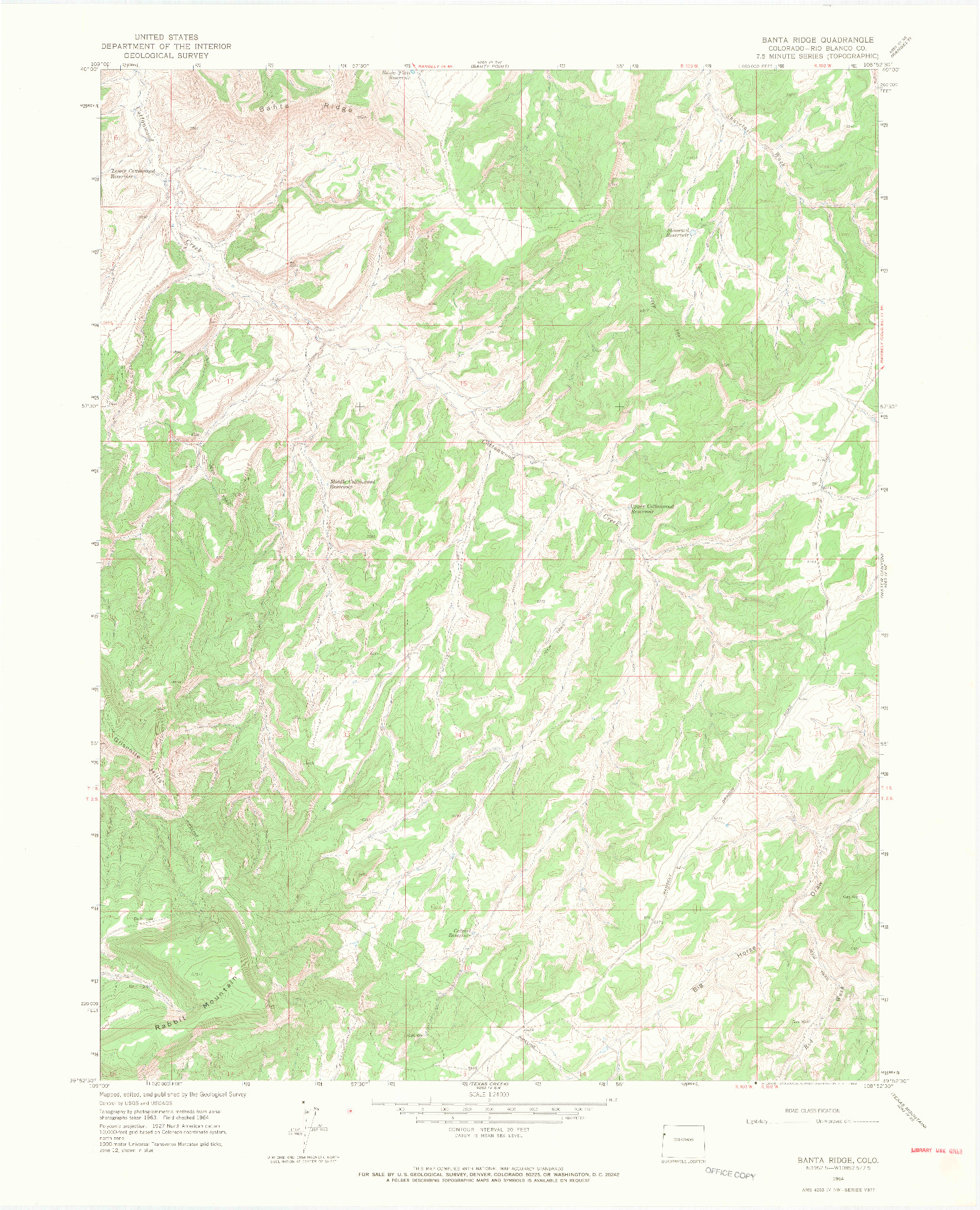 USGS 1:24000-SCALE QUADRANGLE FOR BANTA RIDGE, CO 1964