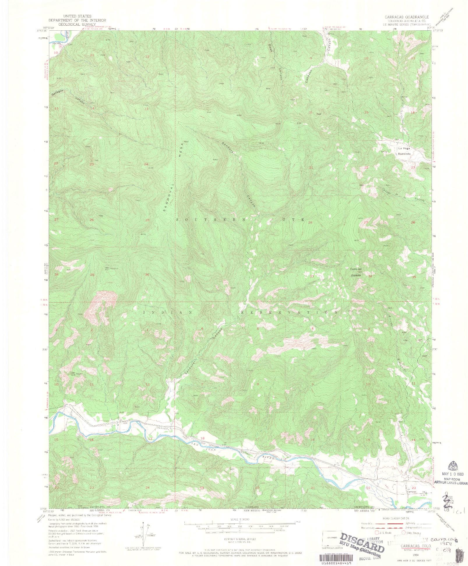 USGS 1:24000-SCALE QUADRANGLE FOR CARRACAS, CO 1954