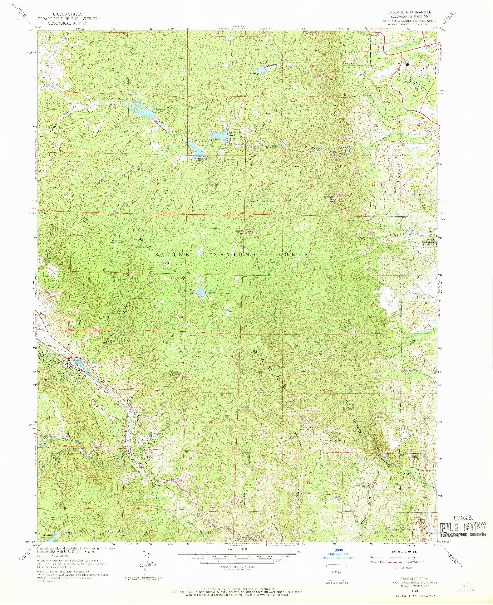 USGS 1:24000-SCALE QUADRANGLE FOR CASCADE, CO 1961