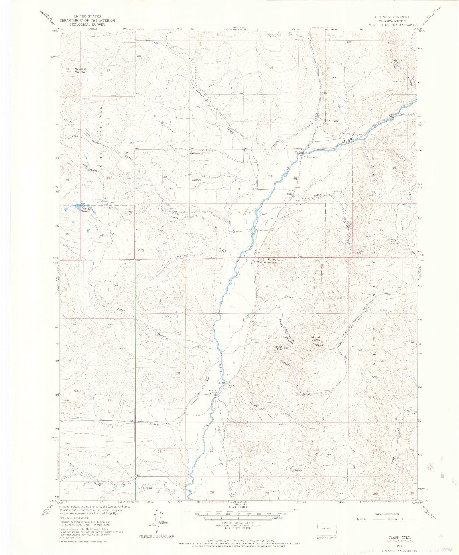 USGS 1:24000-SCALE QUADRANGLE FOR CLARK, CO 1962