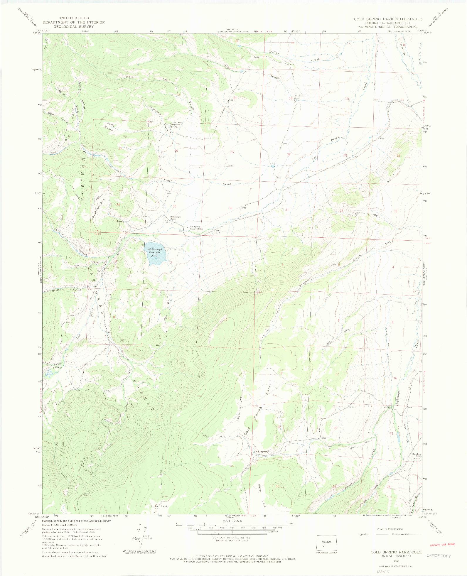 USGS 1:24000-SCALE QUADRANGLE FOR COLD SPRING PARK, CO 1965