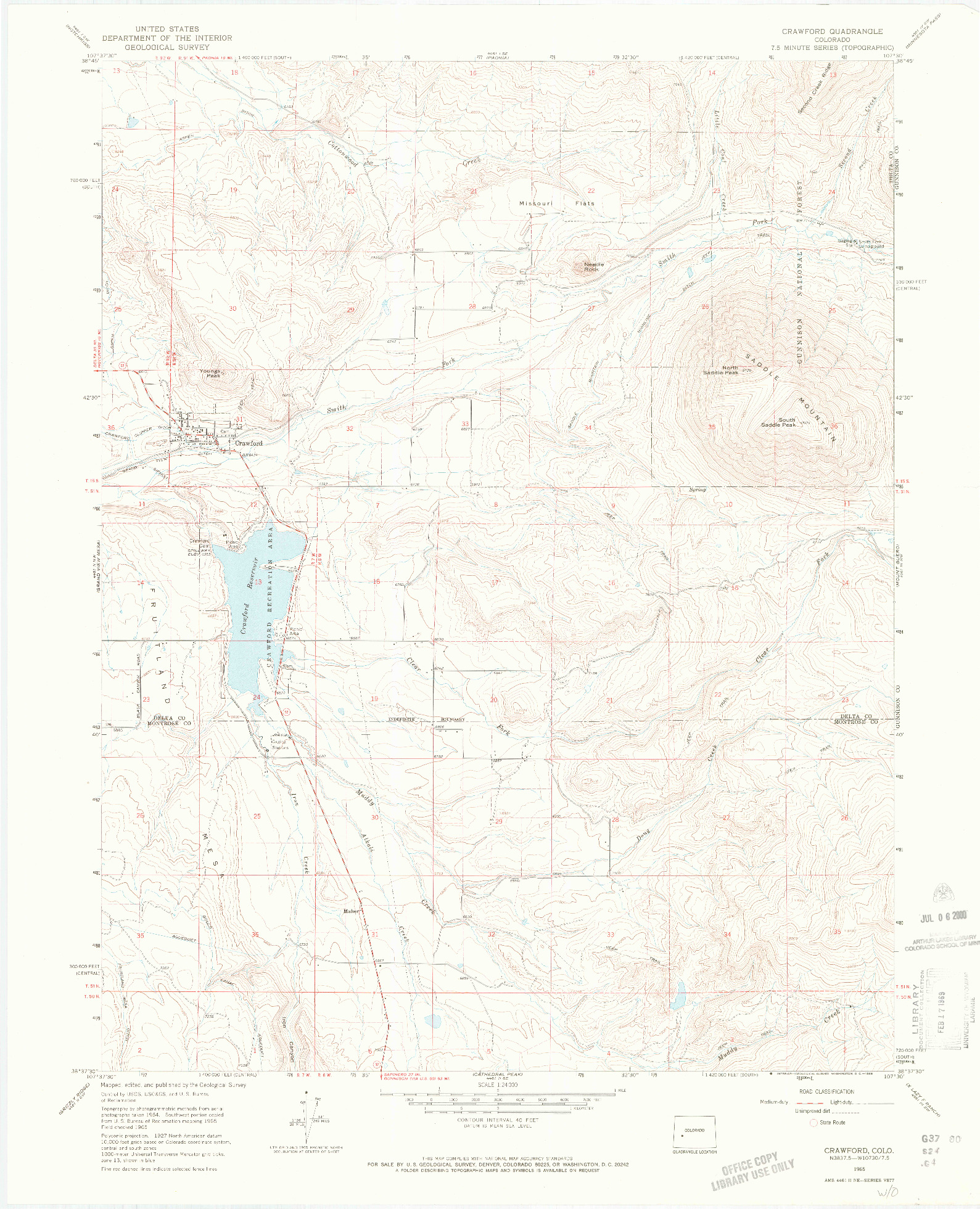 USGS 1:24000-SCALE QUADRANGLE FOR CRAWFORD, CO 1965