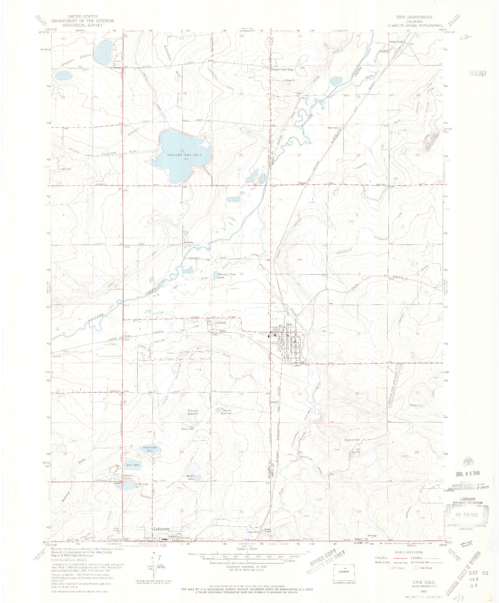 USGS 1:24000-SCALE QUADRANGLE FOR ERIE, CO 1967