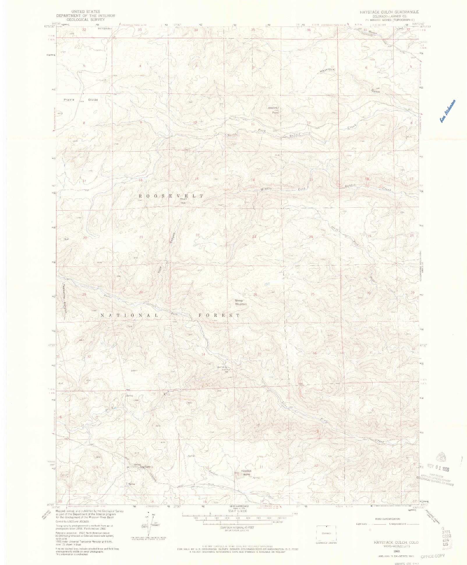 USGS 1:24000-SCALE QUADRANGLE FOR HAYSTACK GULCH, CO 1960