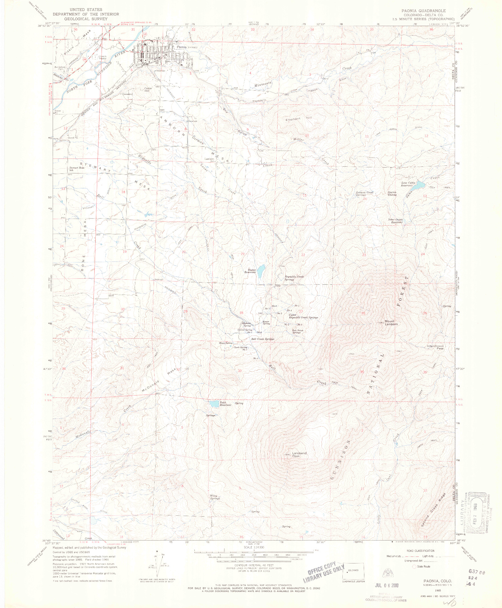 USGS 1:24000-SCALE QUADRANGLE FOR PAONIA, CO 1965