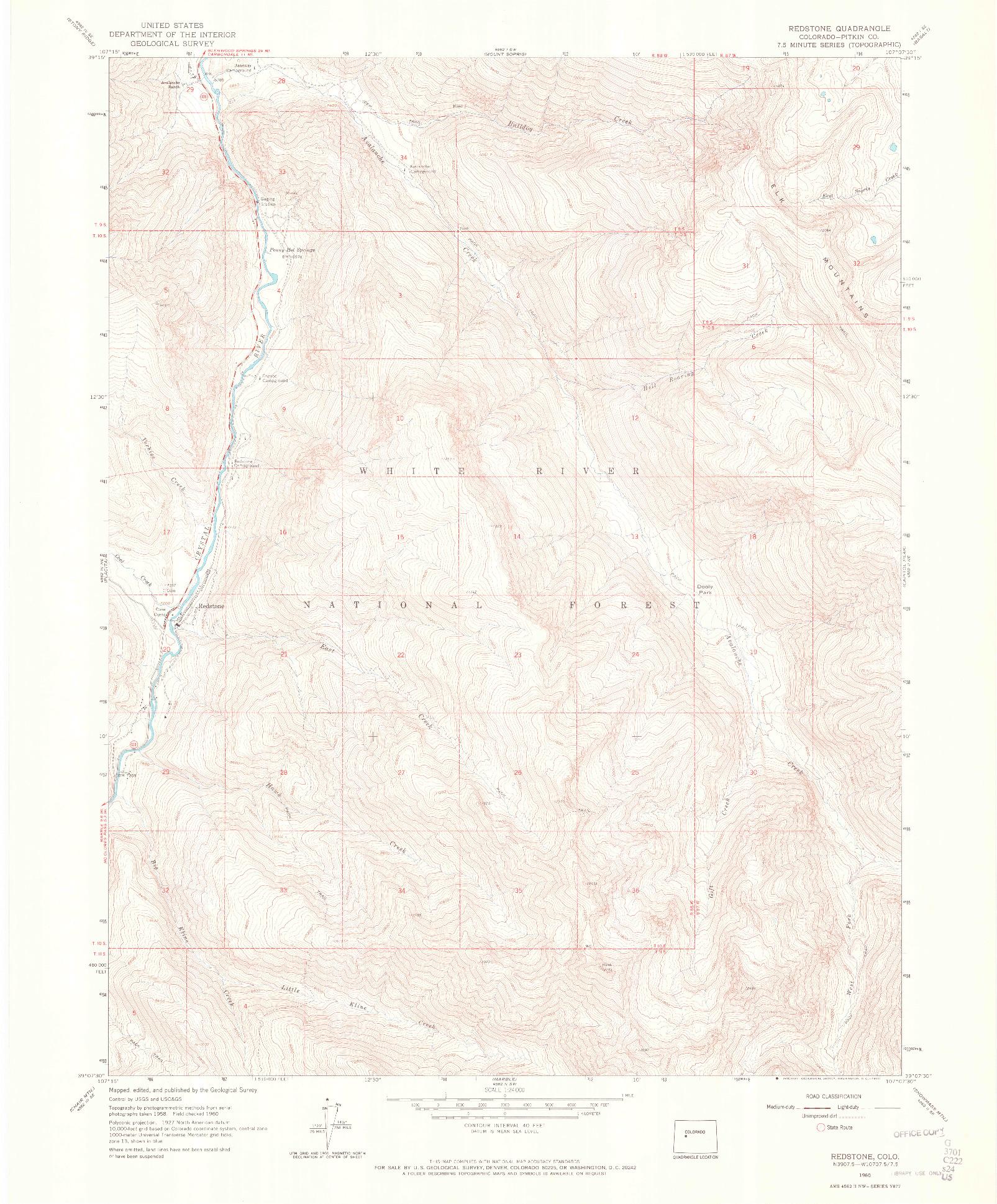 USGS 1:24000-SCALE QUADRANGLE FOR REDSTONE, CO 1960
