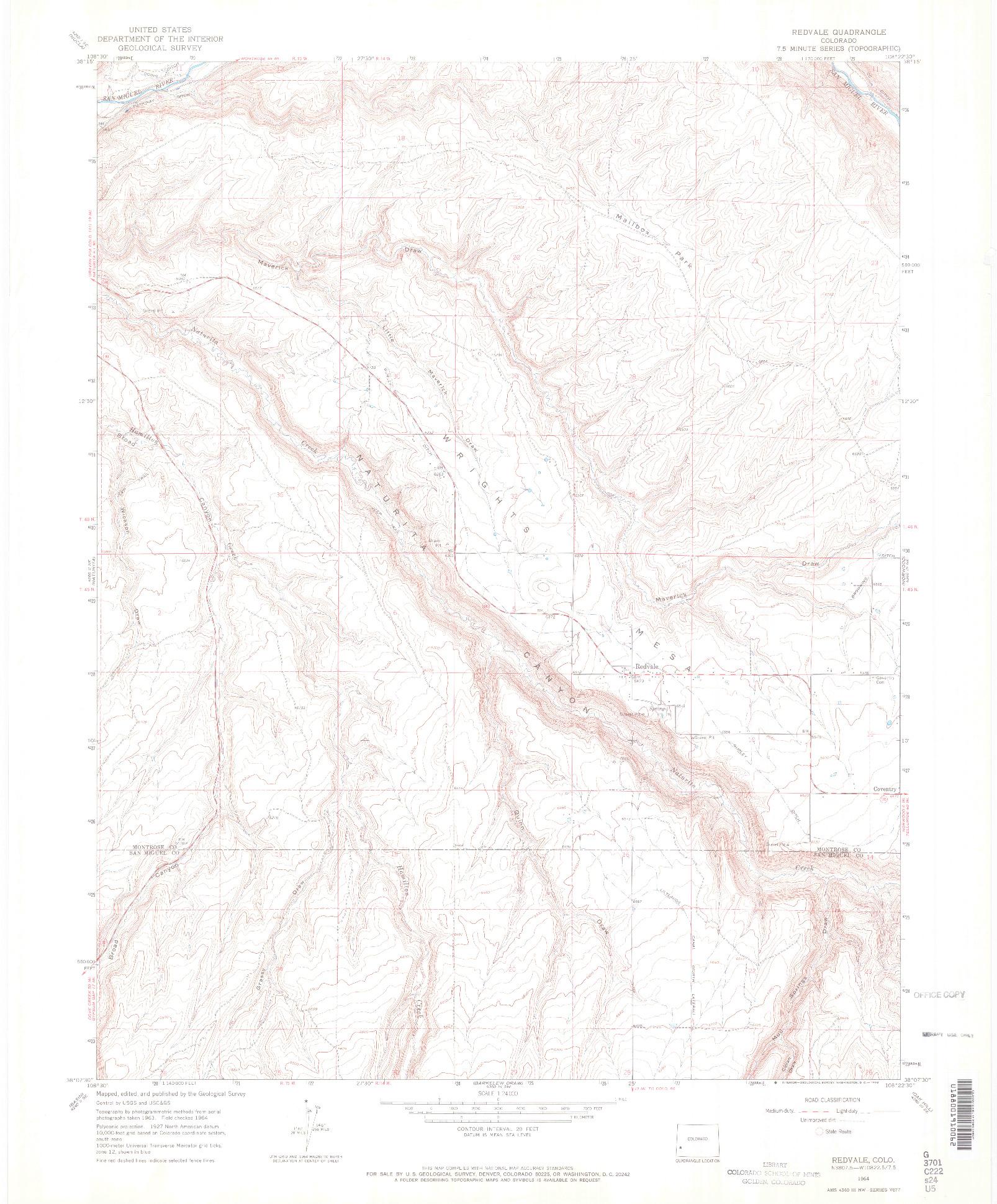 USGS 1:24000-SCALE QUADRANGLE FOR REDVALE, CO 1964
