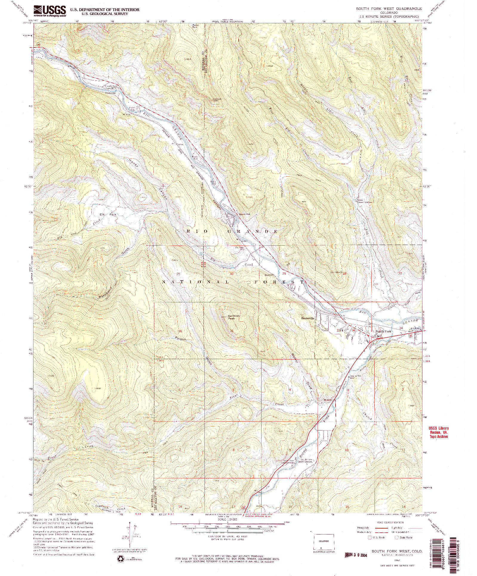 USGS 1:24000-SCALE QUADRANGLE FOR SOUTH FORK WEST, CO 1967