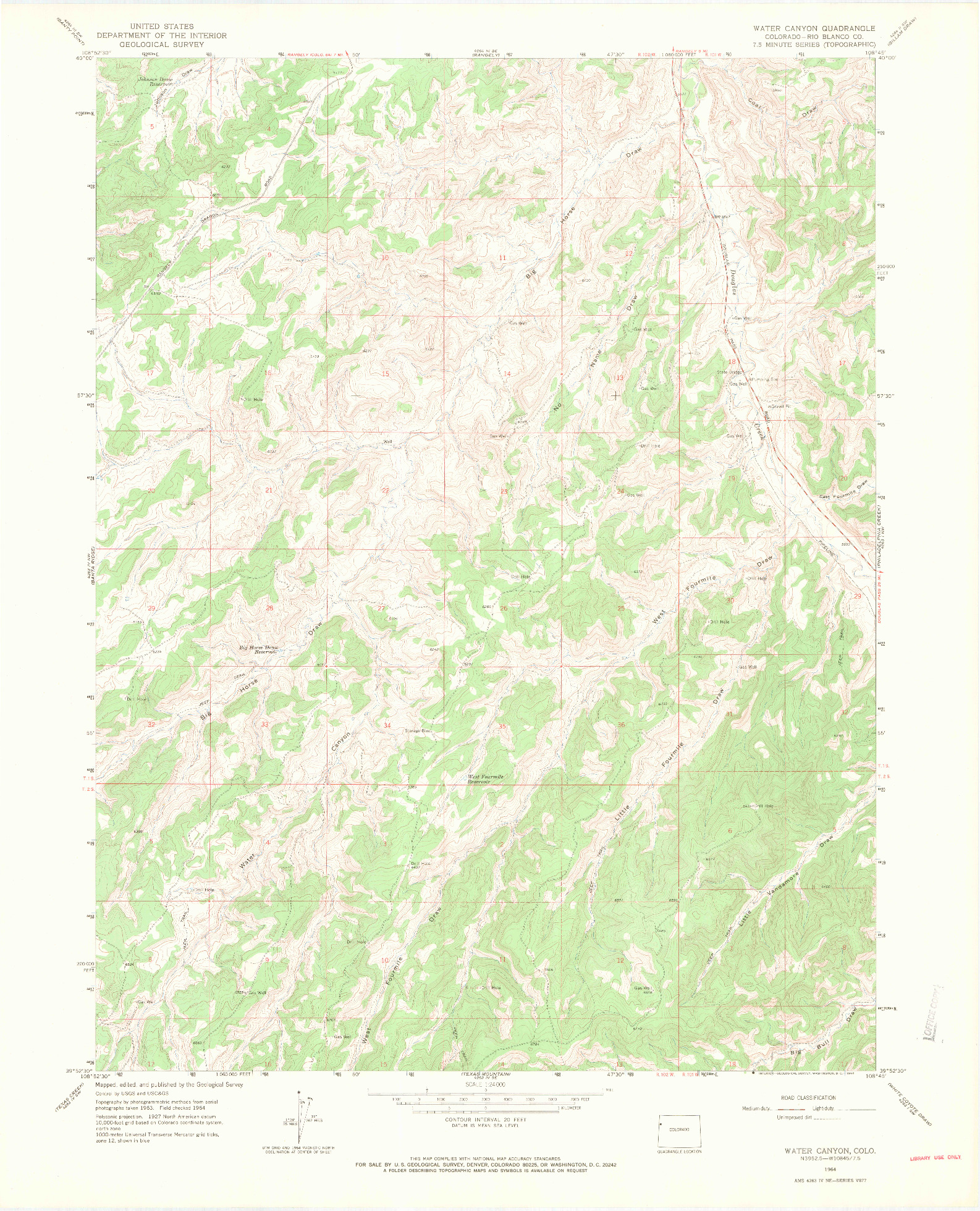 USGS 1:24000-SCALE QUADRANGLE FOR WATER CANYON, CO 1964