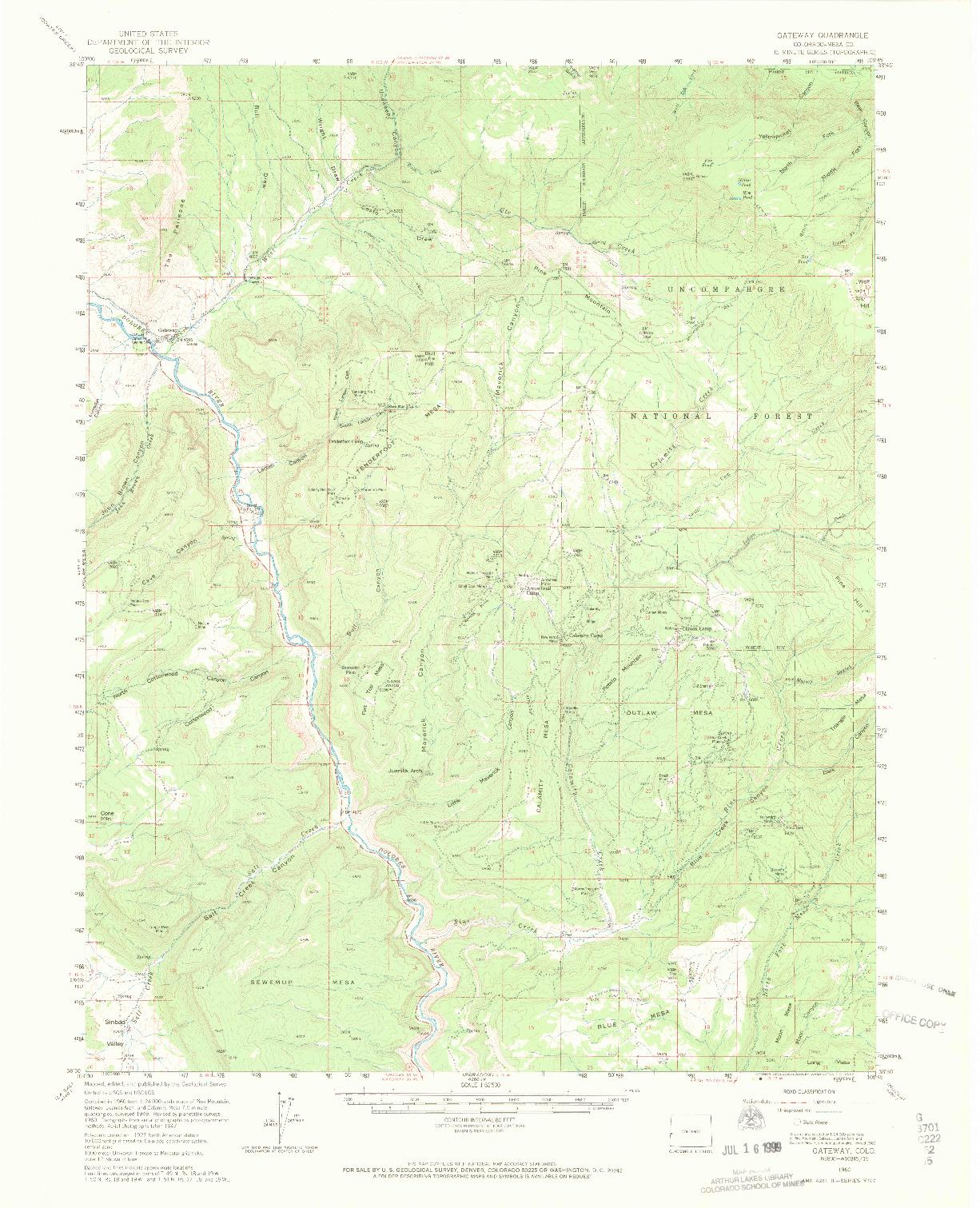 USGS 1:62500-SCALE QUADRANGLE FOR GATEWAY, CO 1960