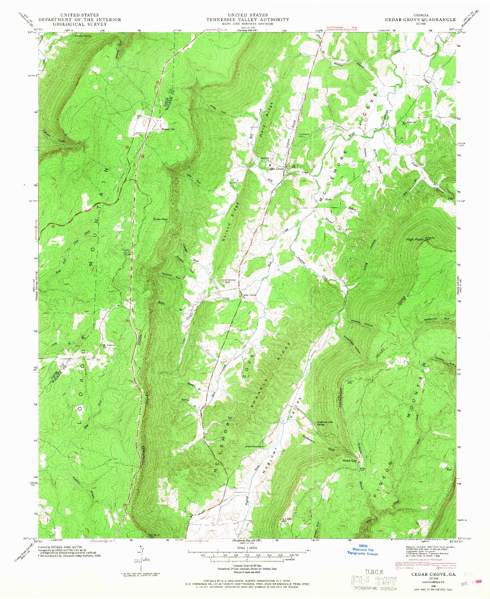 USGS 1:24000-SCALE QUADRANGLE FOR CEDAR GROVE, GA 1946