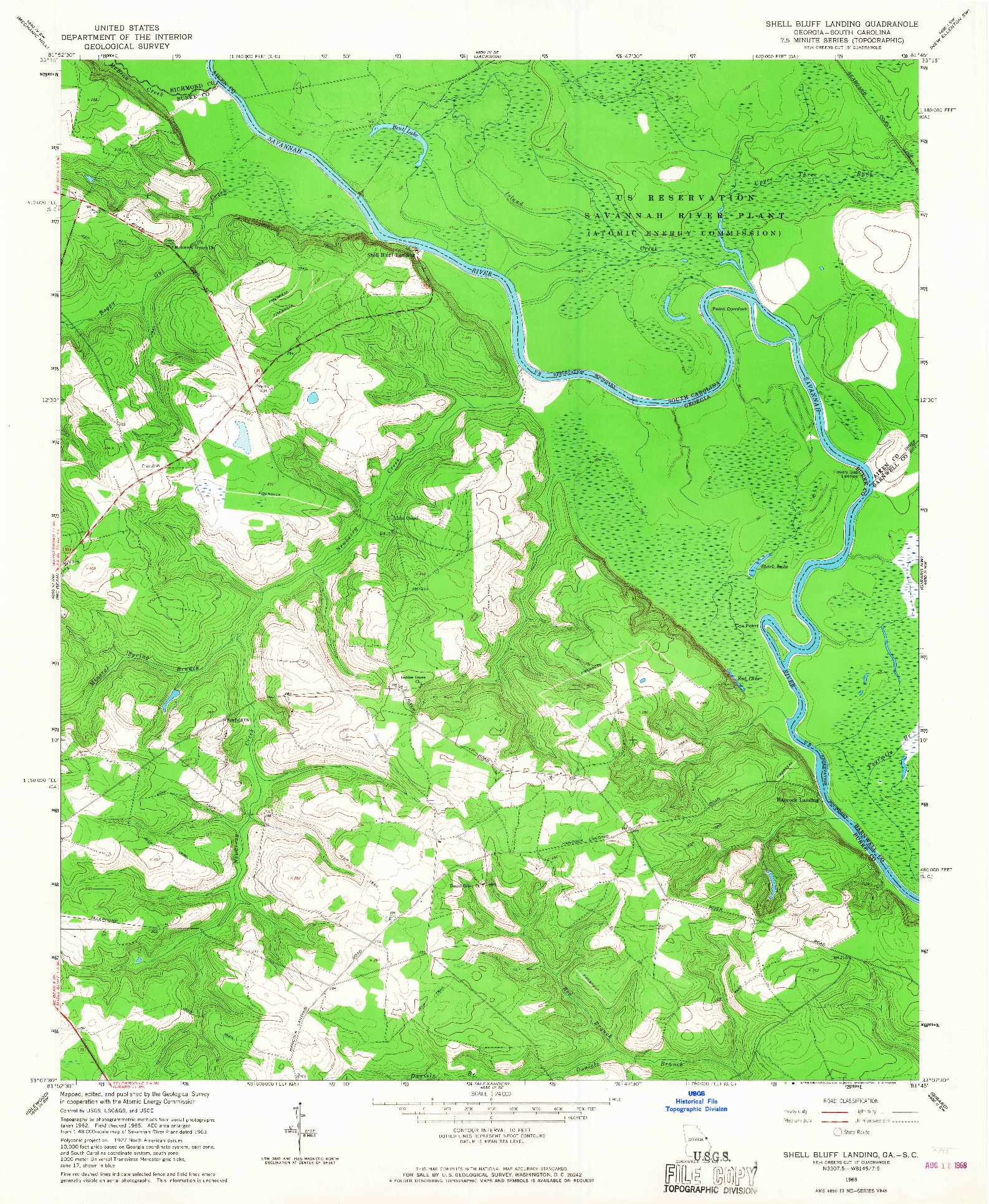 USGS 1:24000-SCALE QUADRANGLE FOR SHELL BLUFF LANDING, GA 1965