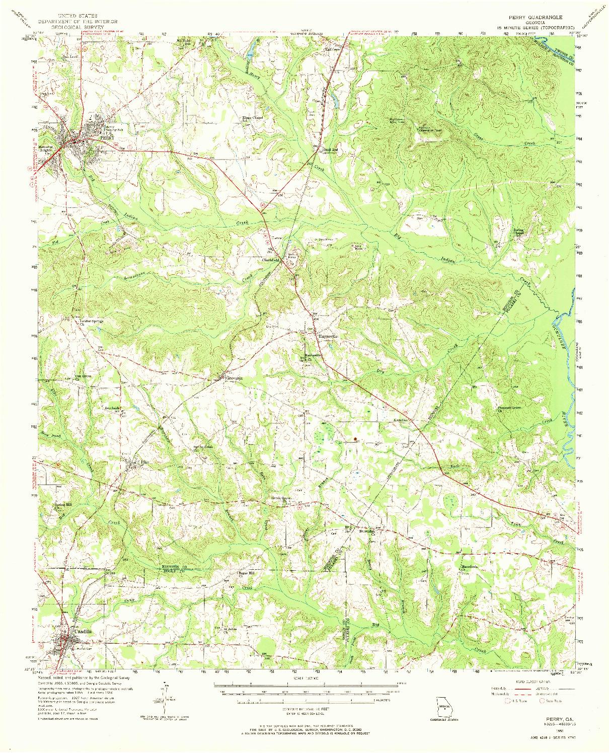 USGS 1:62500-SCALE QUADRANGLE FOR PERRY, GA 1956