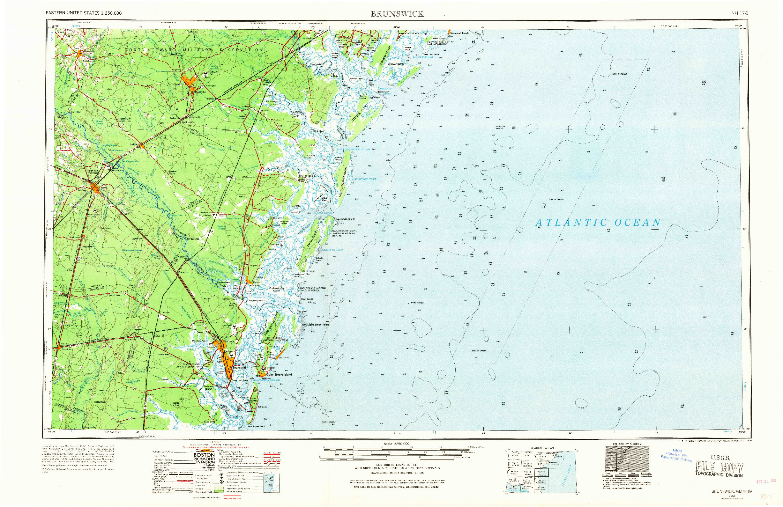 USGS 1:250000-SCALE QUADRANGLE FOR BRUNSWICK, GA 1956