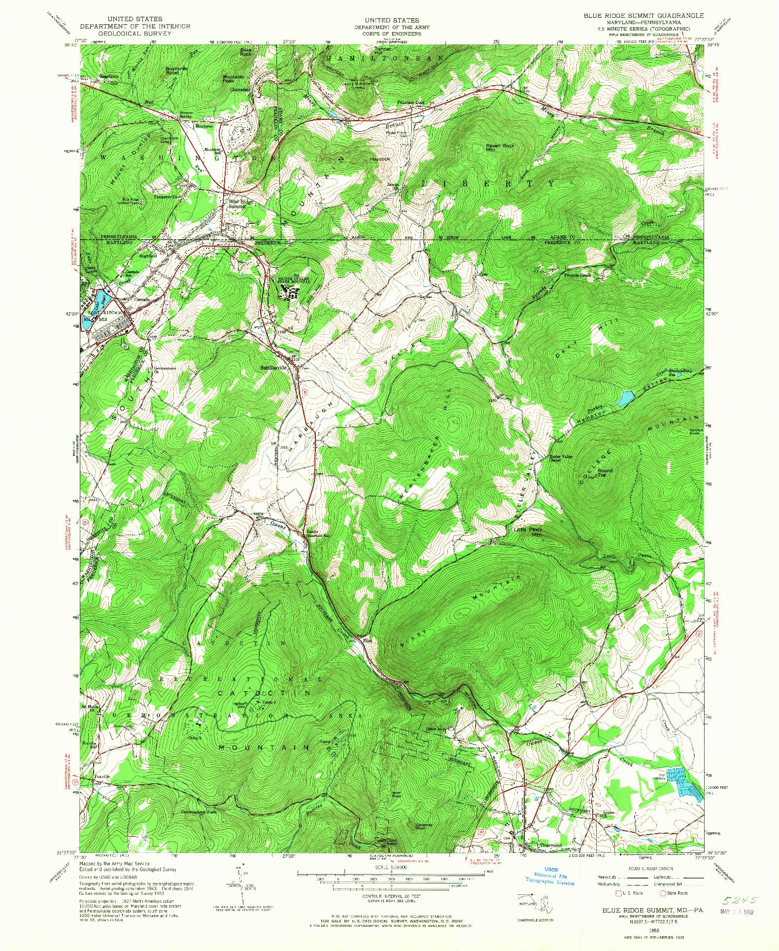 USGS 1:24000-SCALE QUADRANGLE FOR BLUE RIDGE SUMMIT, MD 1953