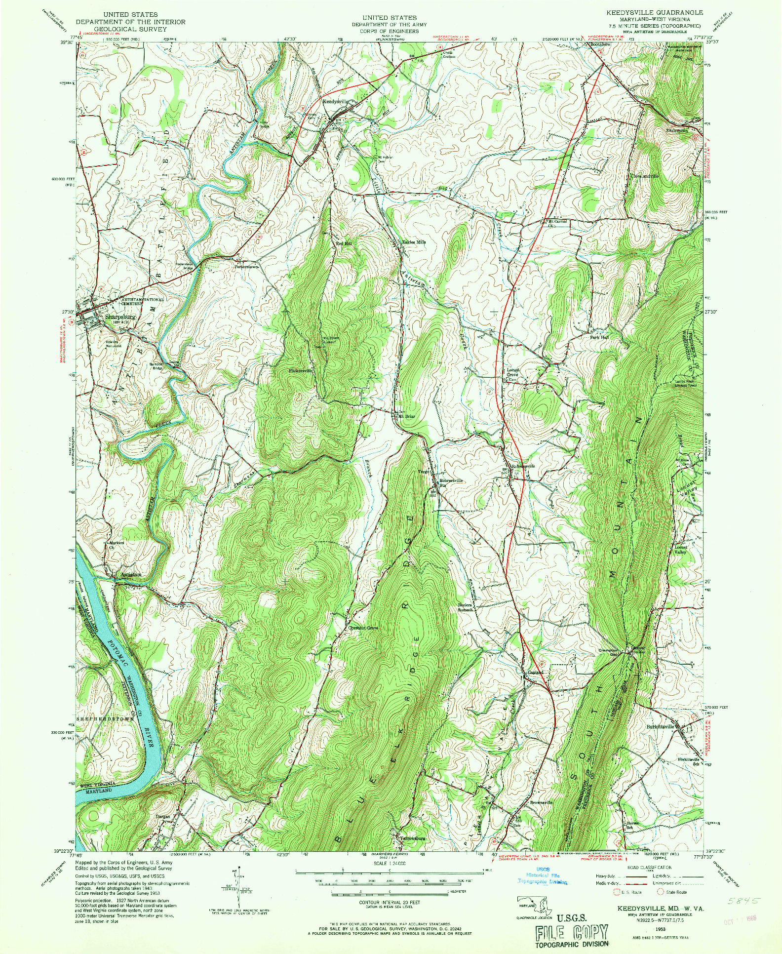 USGS 1:24000-SCALE QUADRANGLE FOR KEEDYSVILLE, MD 1953