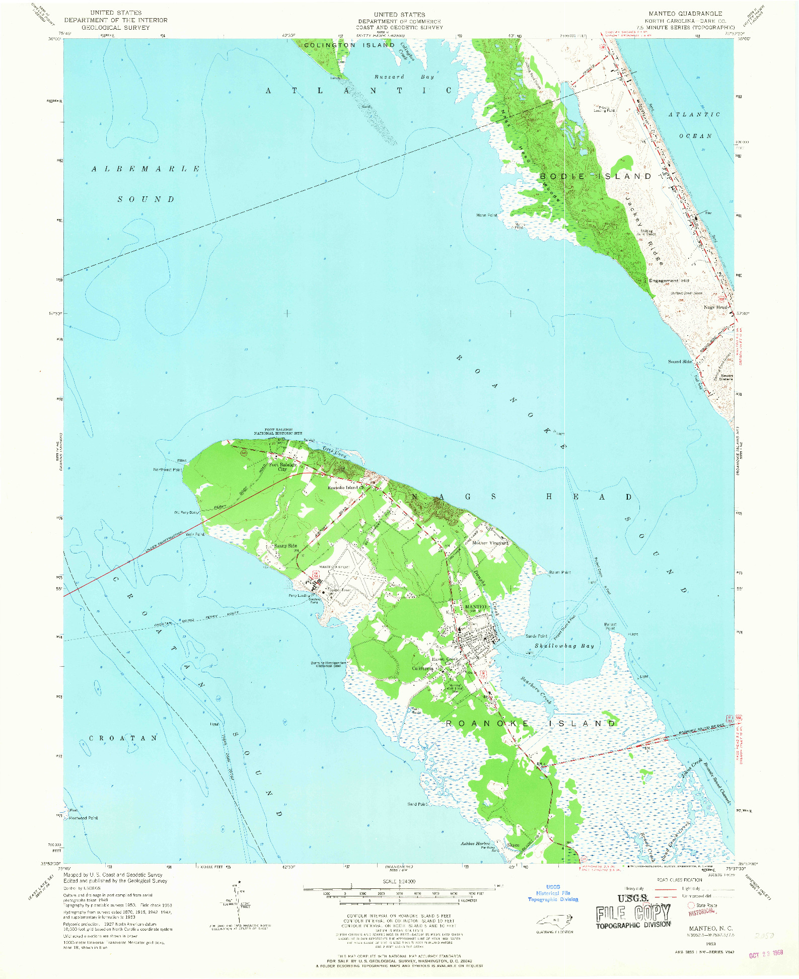 USGS 1:24000-SCALE QUADRANGLE FOR MANTEO, NC 1953