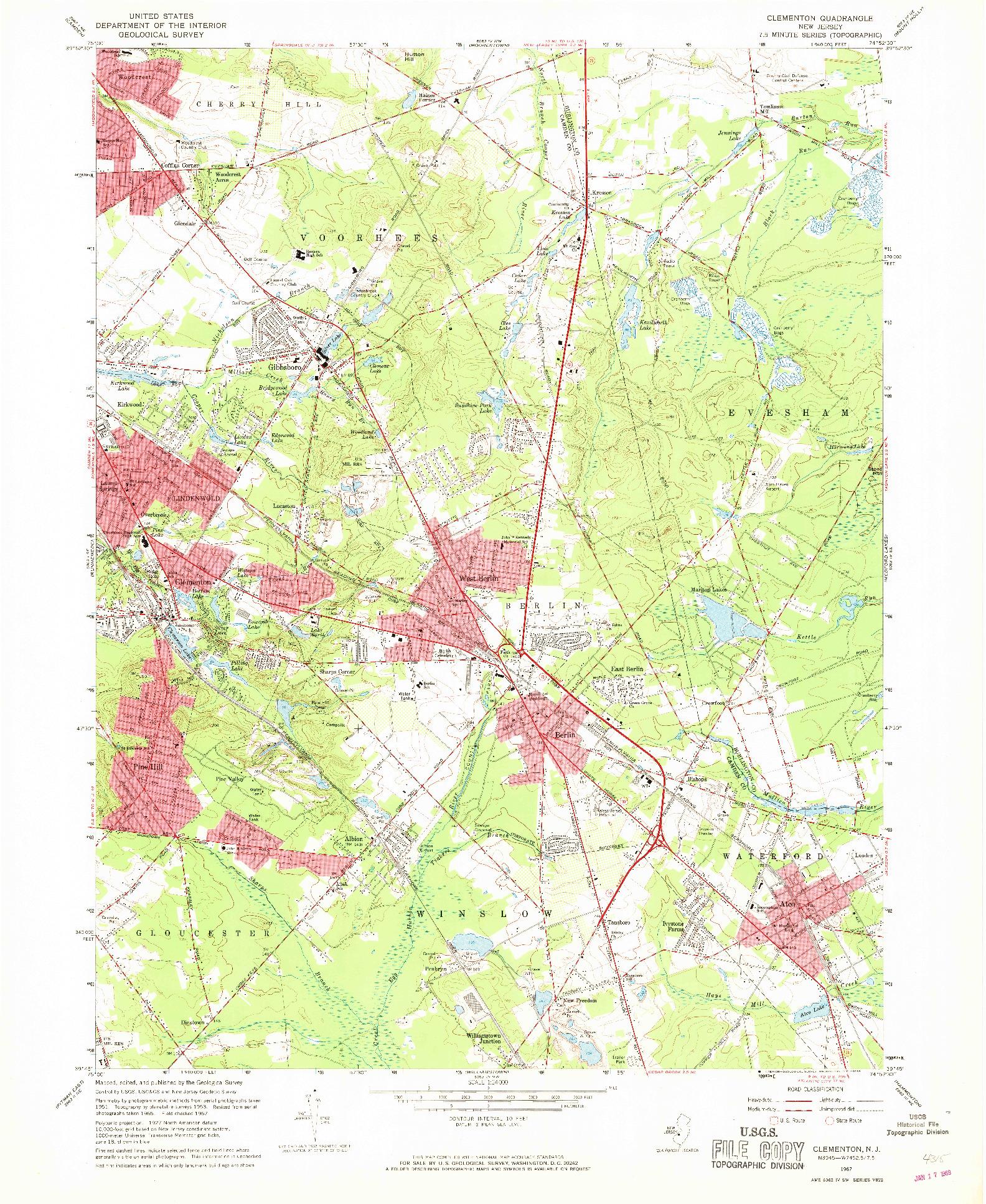 USGS 1:24000-SCALE QUADRANGLE FOR CLEMENTON, NJ 1967