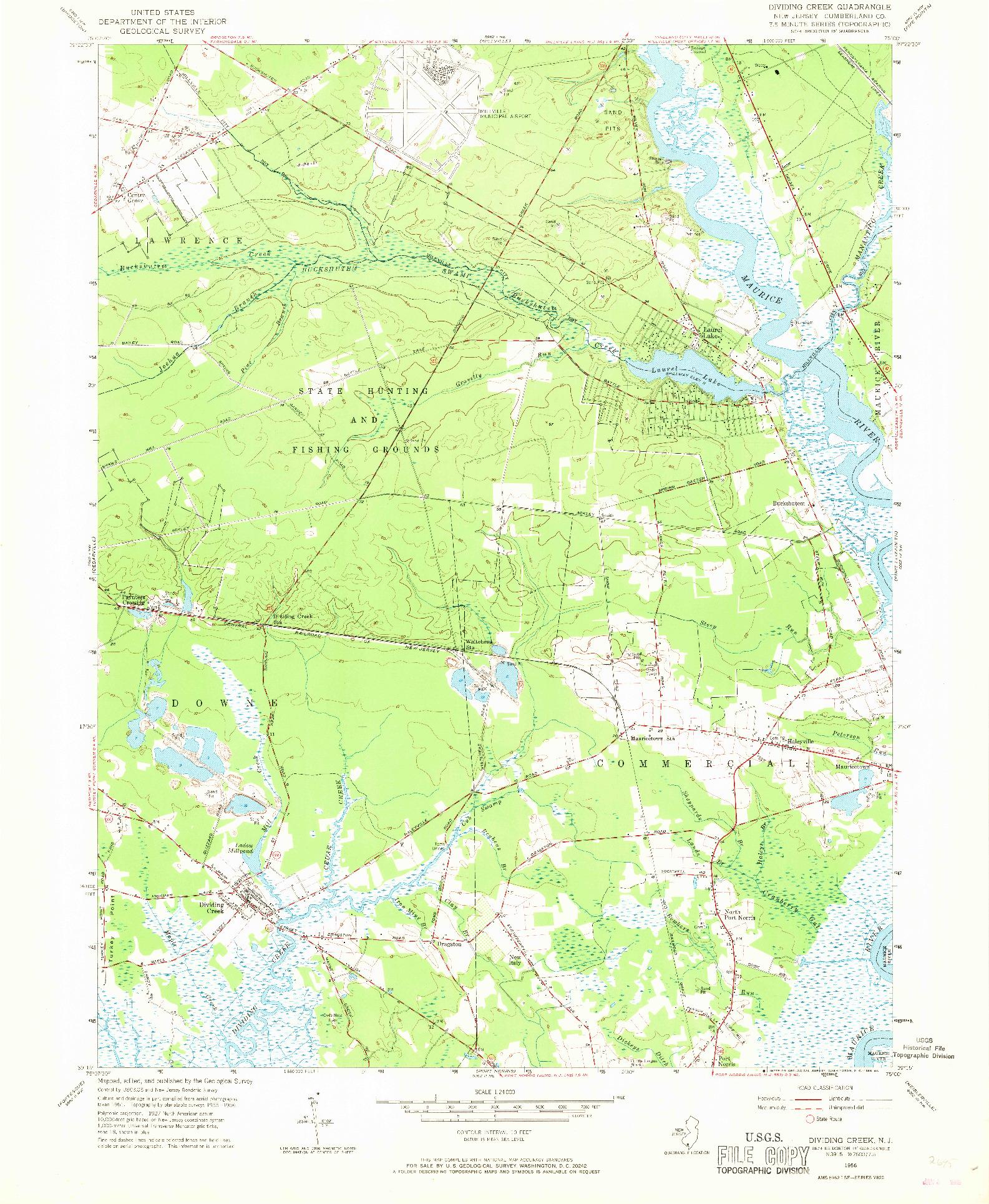 USGS 1:24000-SCALE QUADRANGLE FOR DIVIDING CREEK, NJ 1956