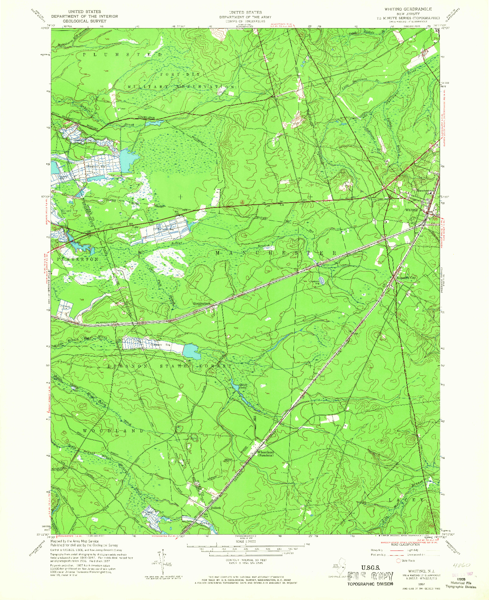 USGS 1:24000-SCALE QUADRANGLE FOR WHITING, NJ 1957