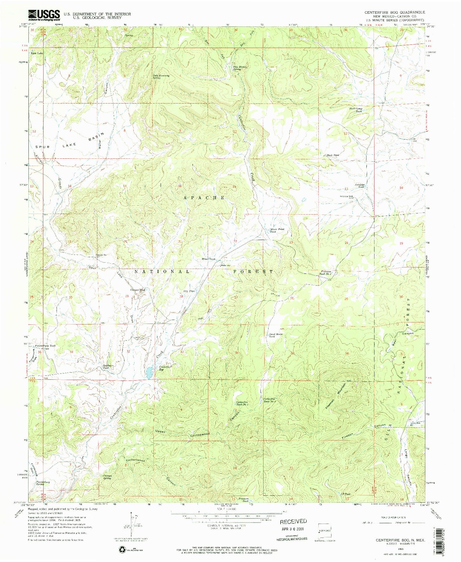 USGS 1:24000-SCALE QUADRANGLE FOR CENTERFIRE BOG, NM 1965