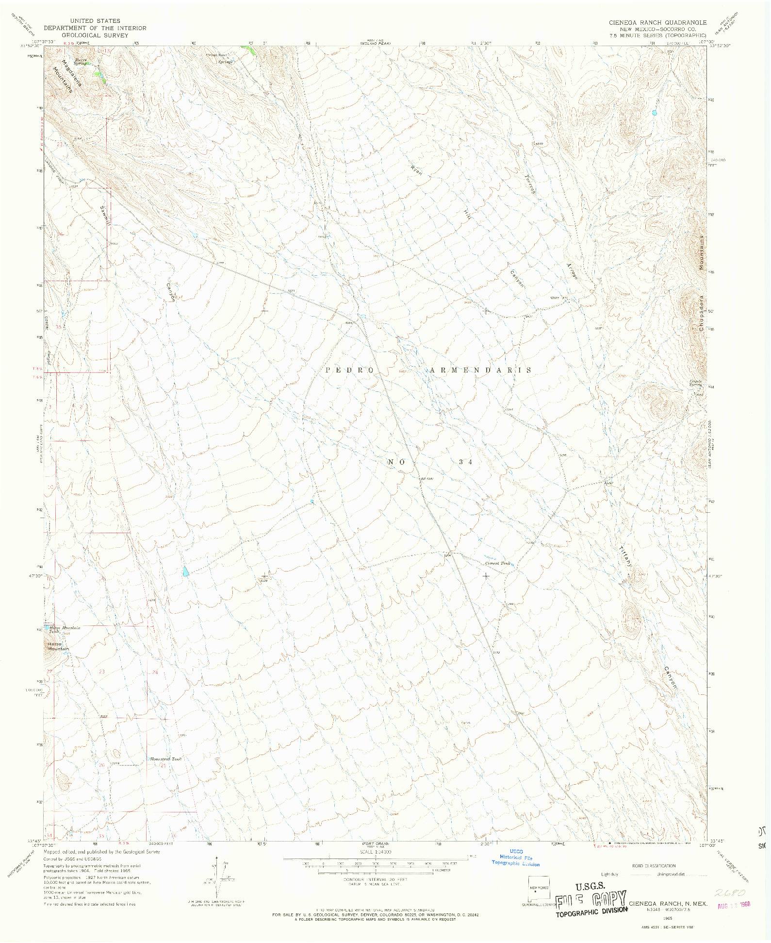 USGS 1:24000-SCALE QUADRANGLE FOR CIENEGA RANCH, NM 1965